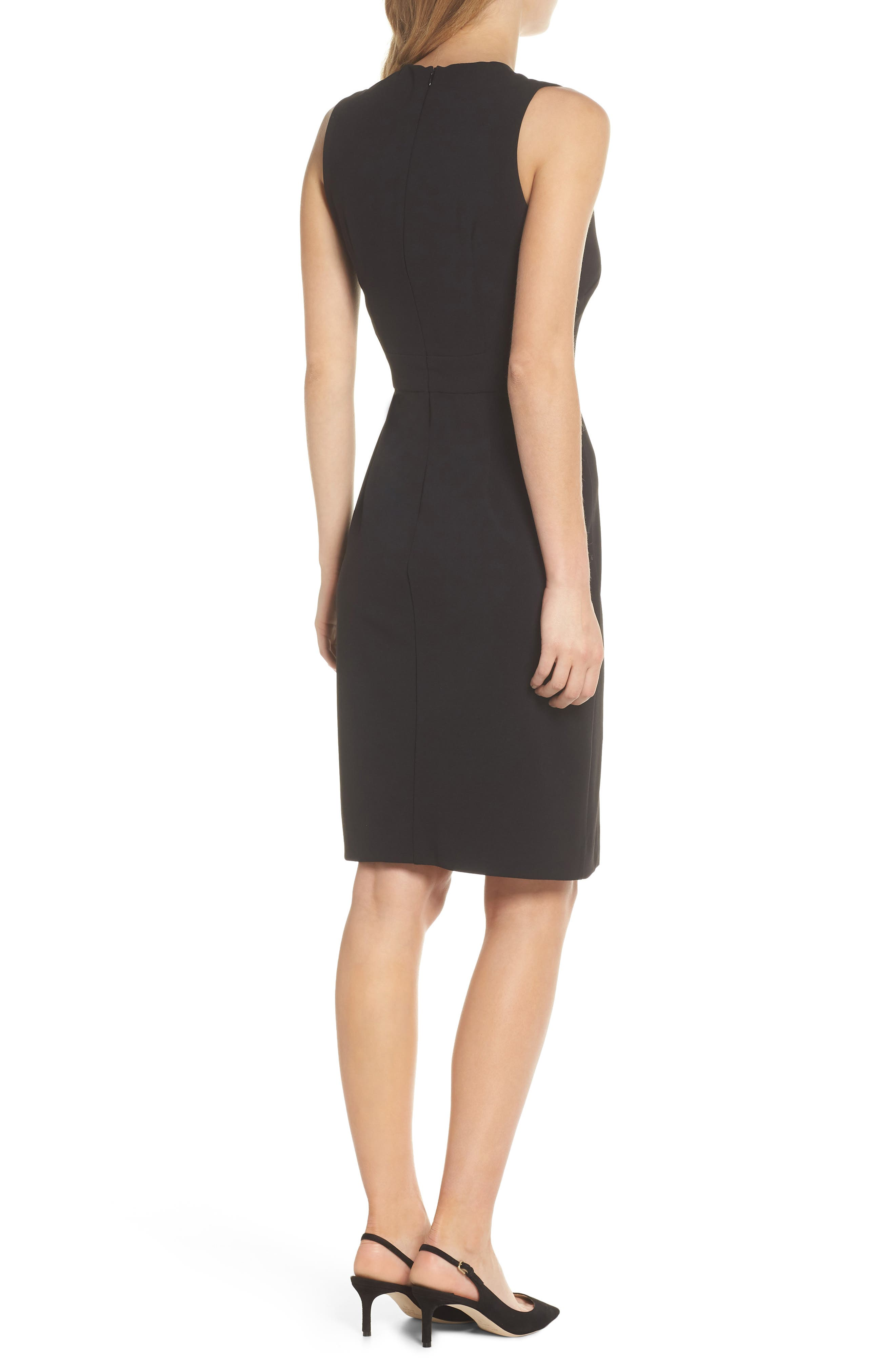 Scuba Crepe Sheath Dress,                             Alternate thumbnail 2, color,                             BLACK