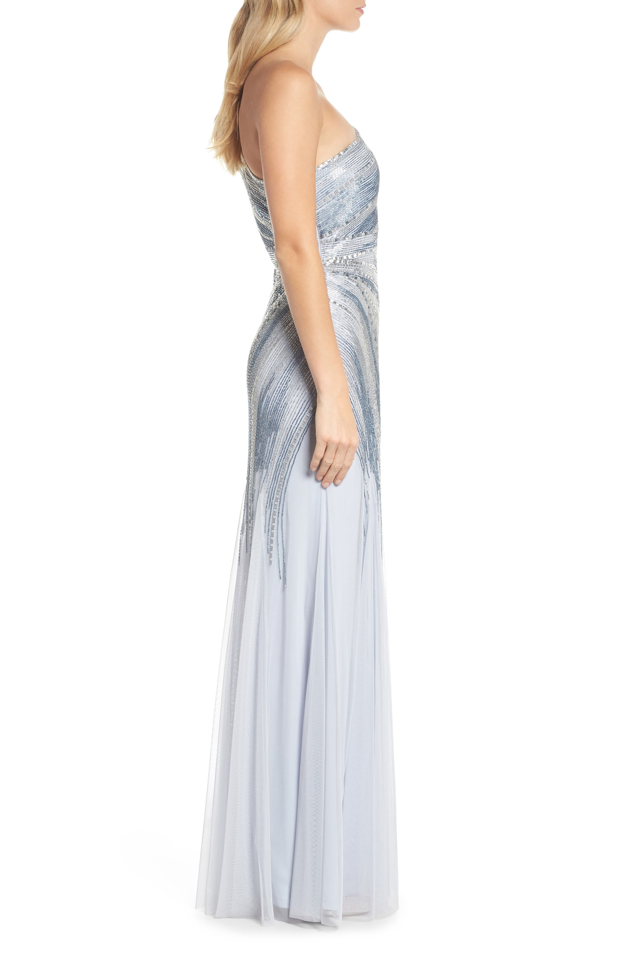 Beaded One-Shoulder Mermaid Gown,                             Alternate thumbnail 3, color,                             450