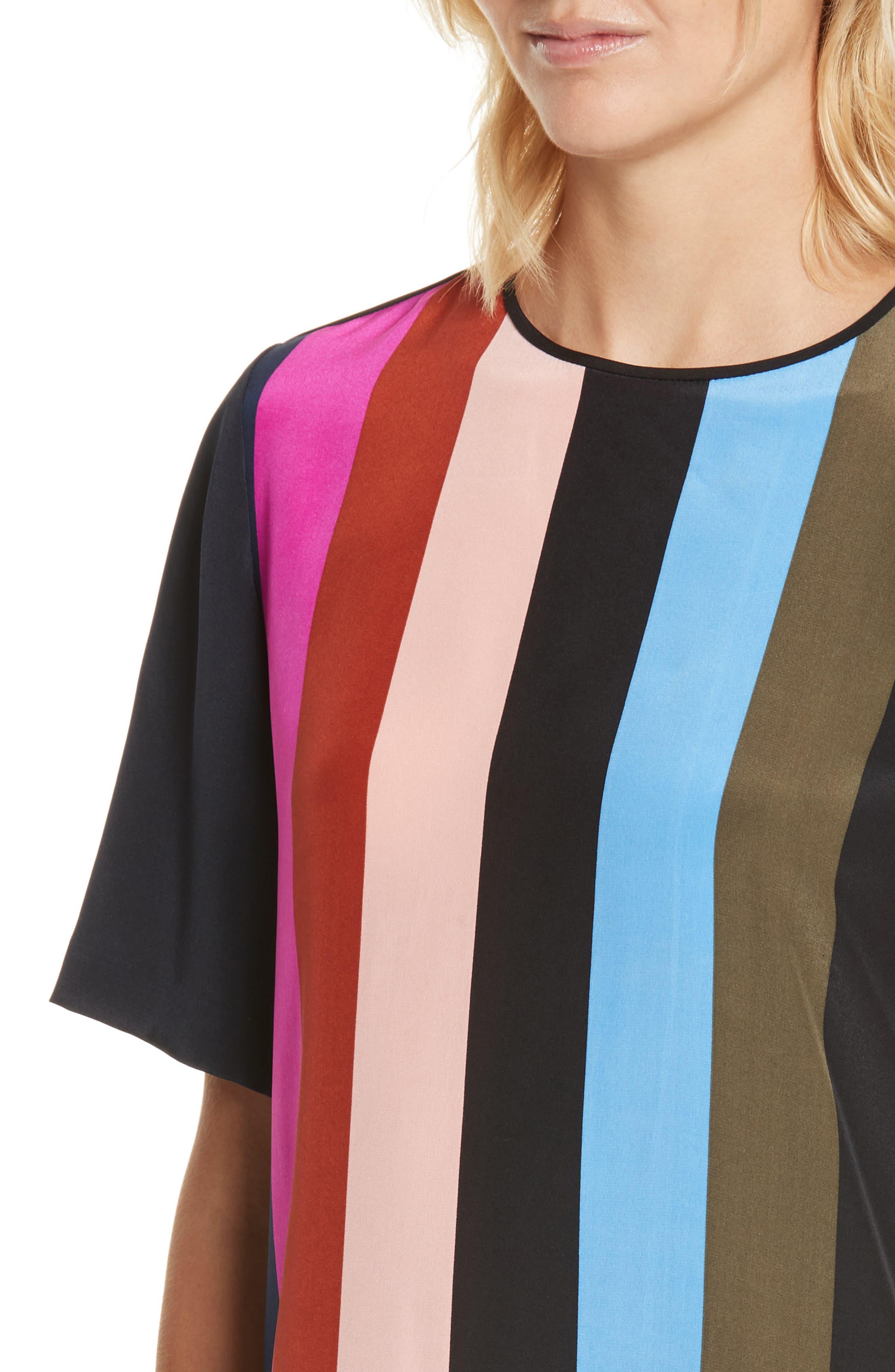 Diane von Furstenberg Stripe Silk Shift Dress,                             Alternate thumbnail 4, color,                             005