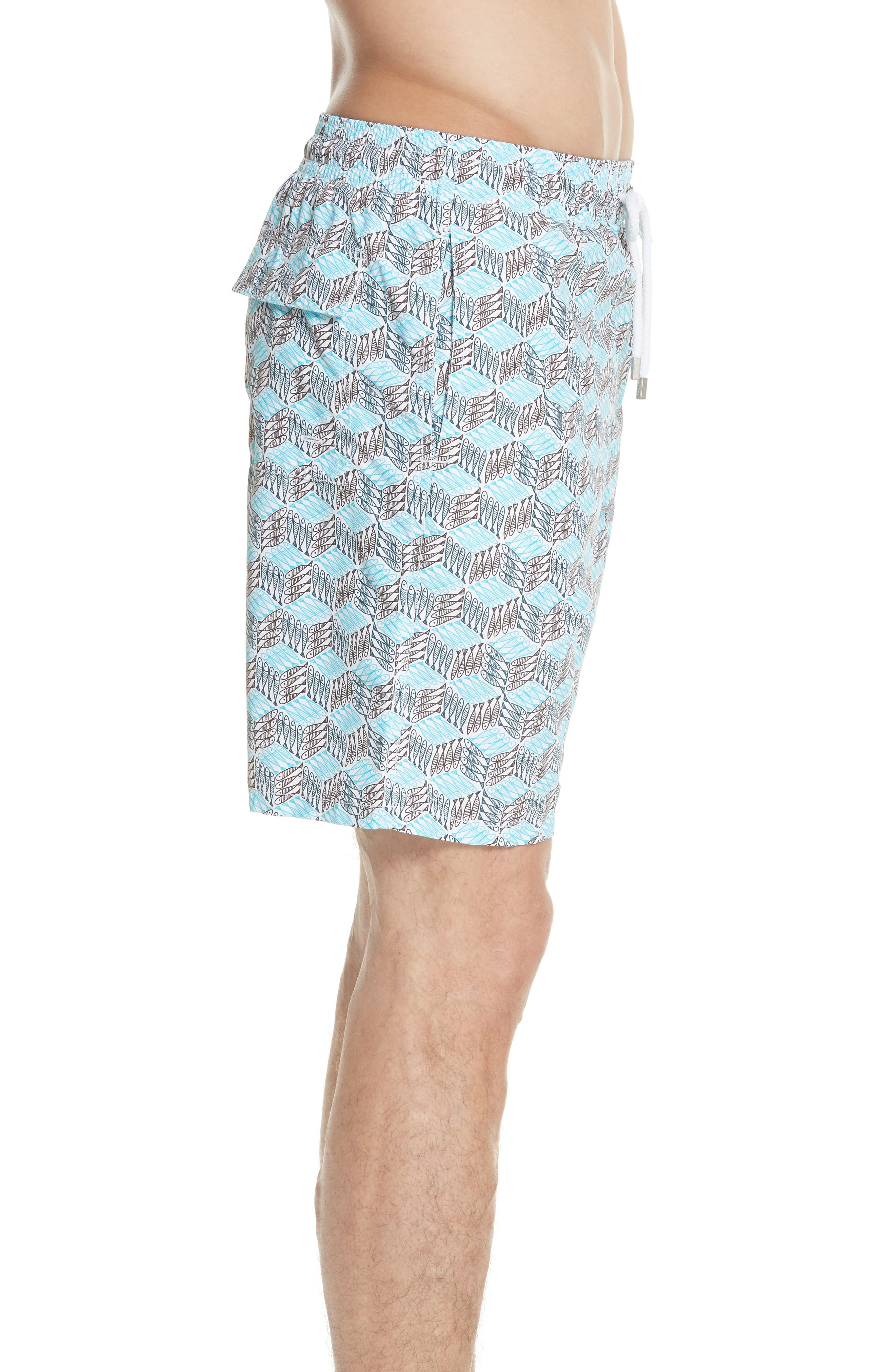 Fishes Cube Print Swim Trunks,                             Alternate thumbnail 3, color,                             AZURE
