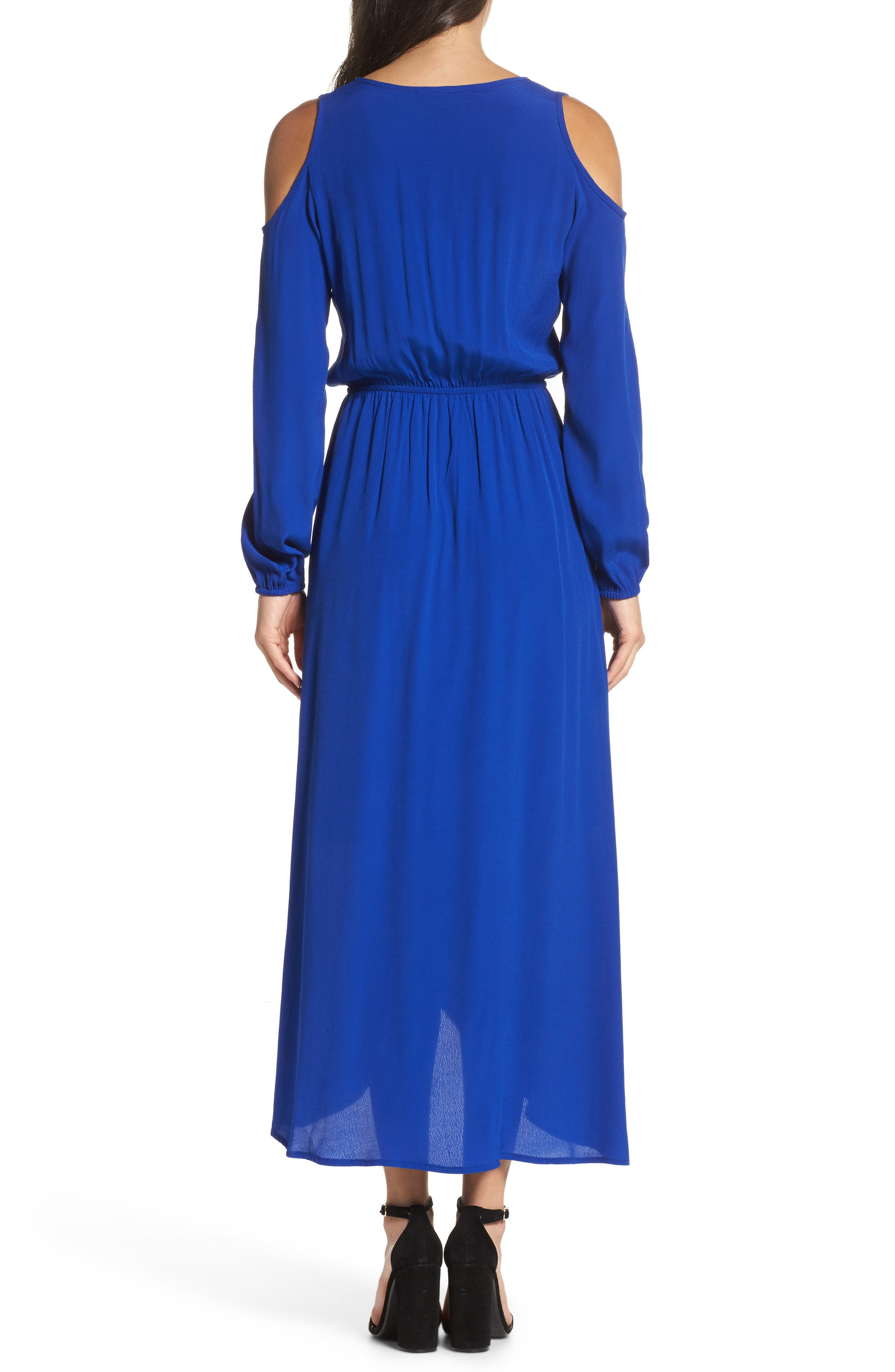 Cold Shoulder Maxi Dress,                             Alternate thumbnail 2, color,                             ROYAL