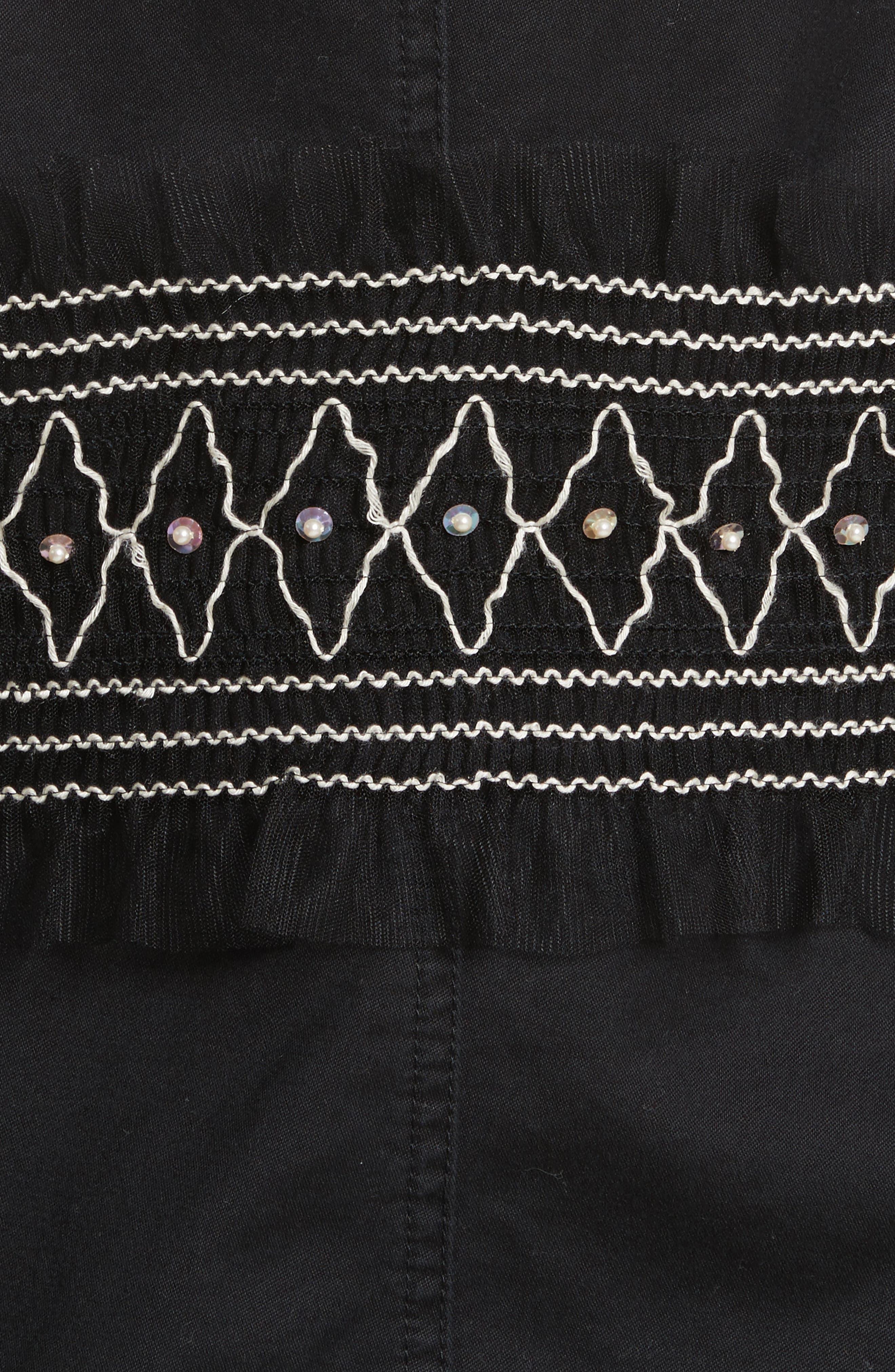 Smocked Embellished Belted Field Jacket,                             Alternate thumbnail 6, color,                             001