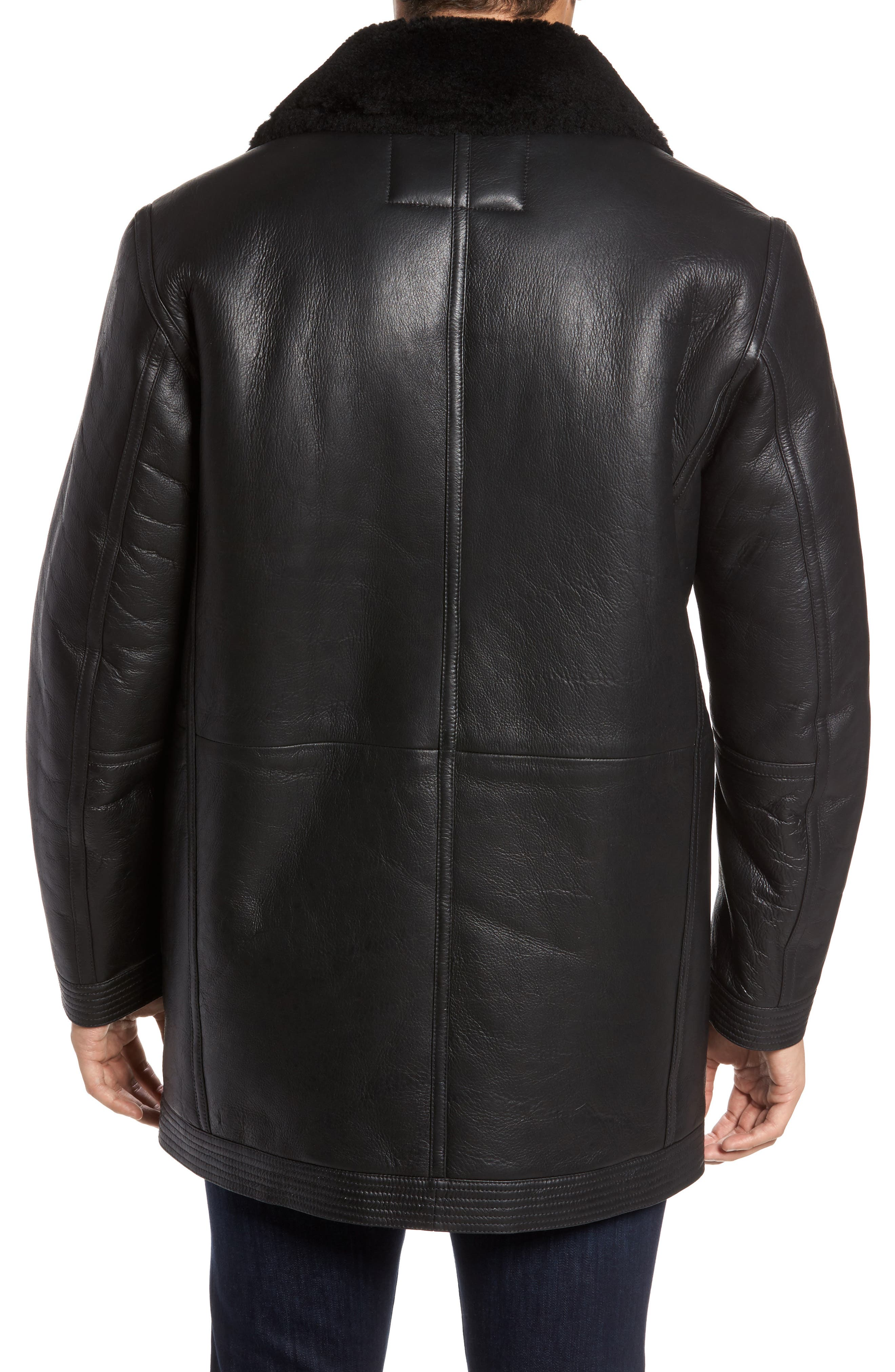 Marc New York Frontier Double Breasted Genuine Shearling Jacket,                             Alternate thumbnail 2, color,                             001