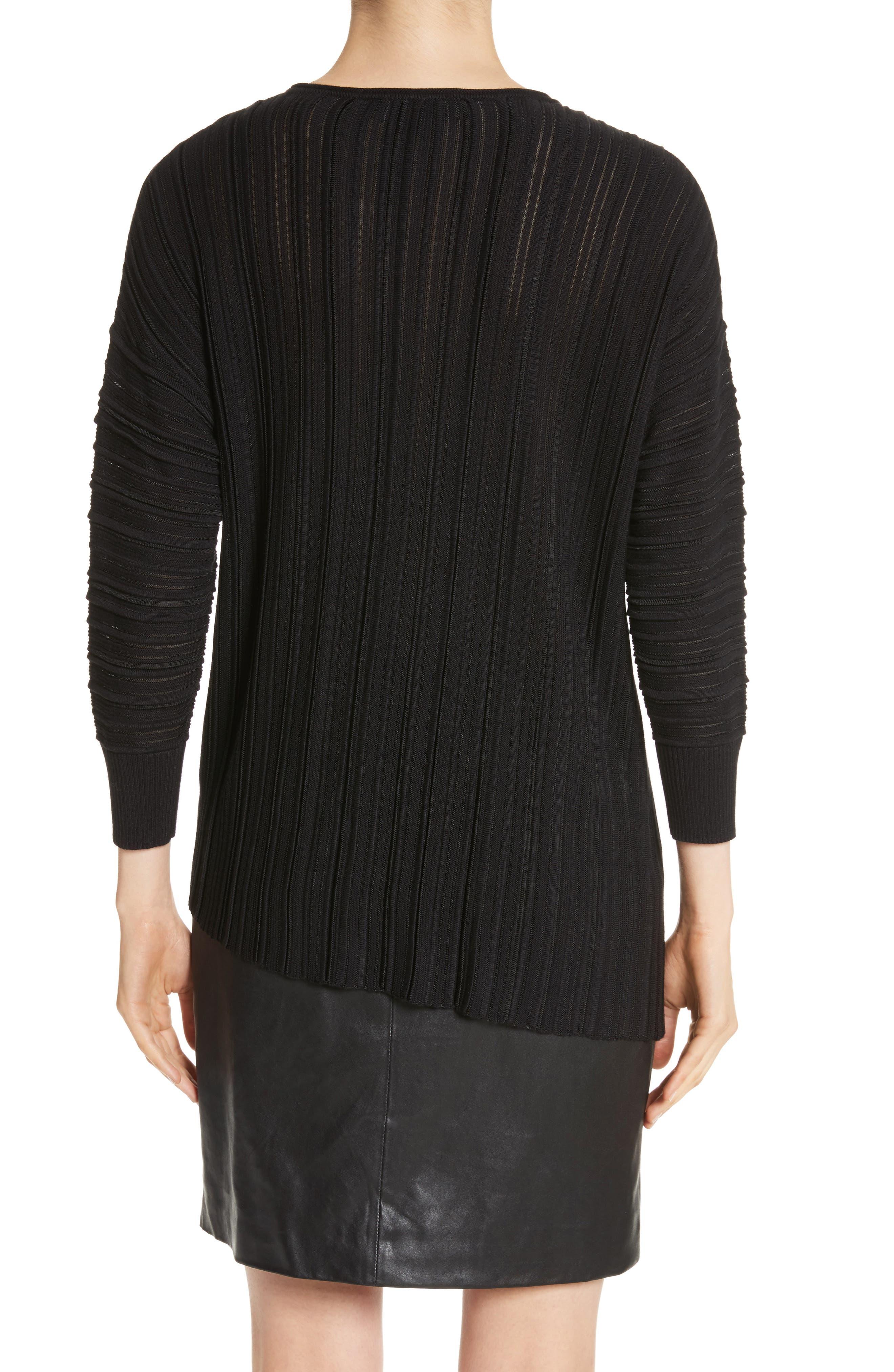 Knit Asymmetrical Sweater,                             Alternate thumbnail 2, color,                             CAVIAR