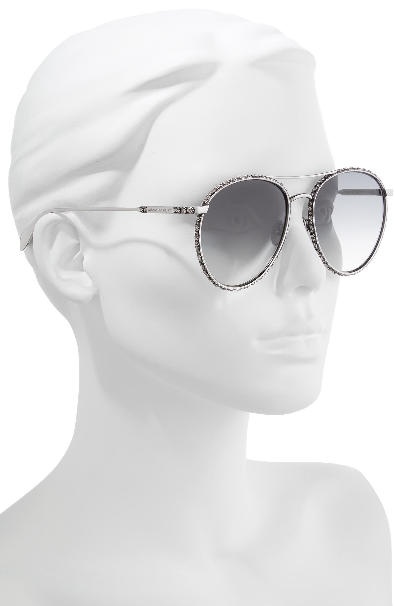 58mm Swarovski Crystal Trim Round Aviator Sunglasses,                             Alternate thumbnail 2, color,                             SILVER