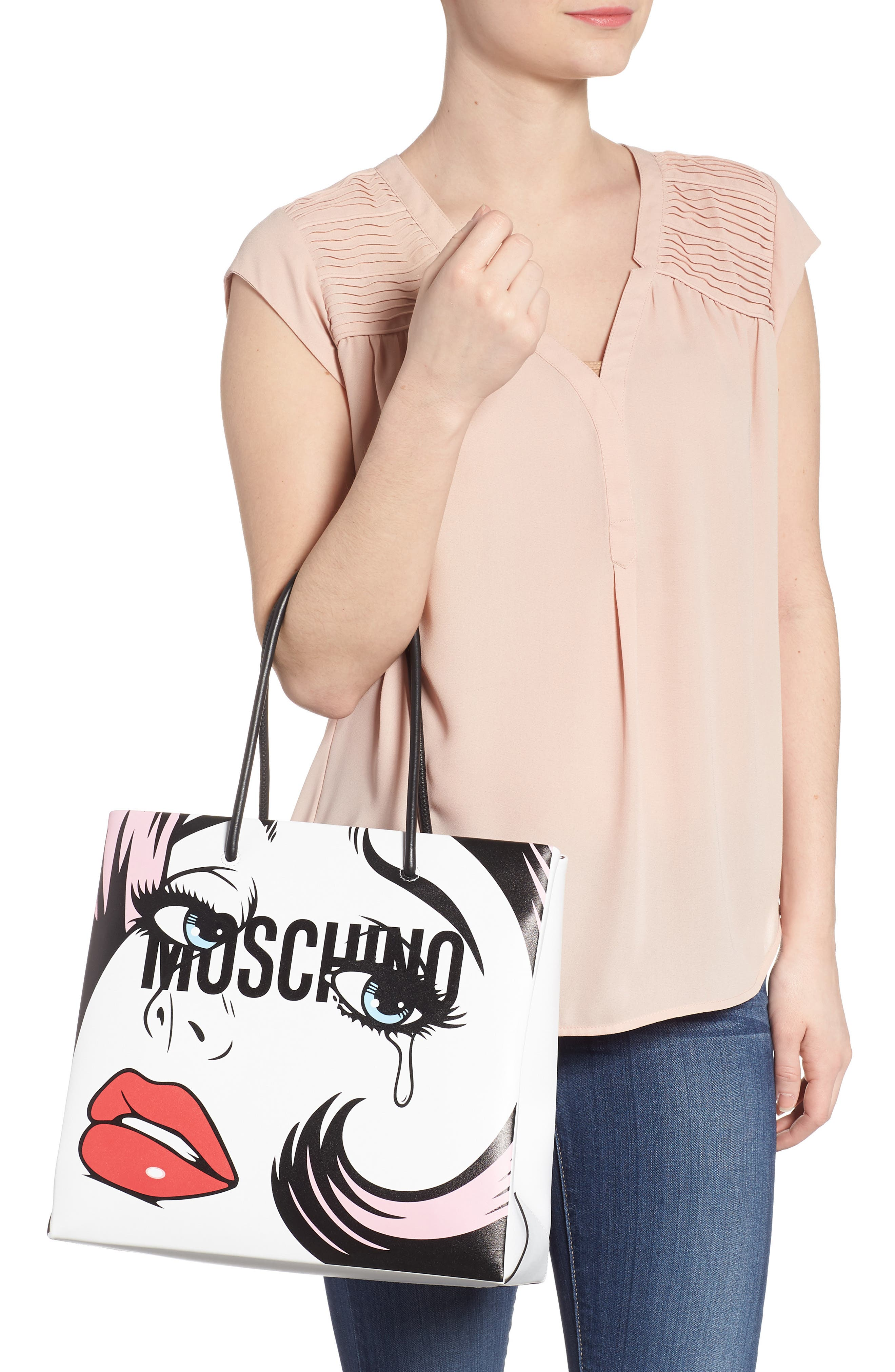 Graphic Print Leather Tote,                             Alternate thumbnail 2, color,                             122