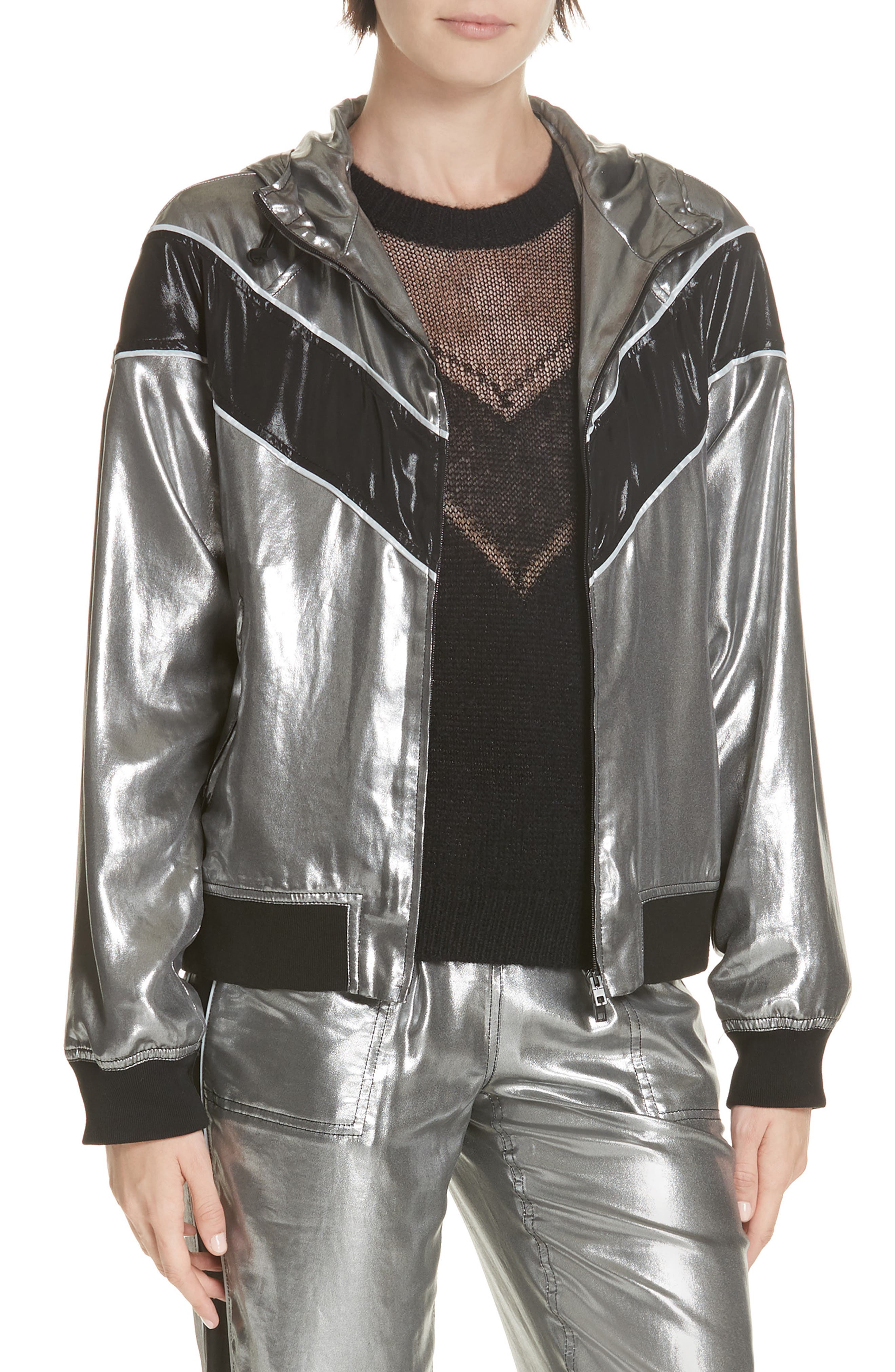 RAG & BONE Sloane Metallic Track Jacket, Main, color, SILVER/ BLACK
