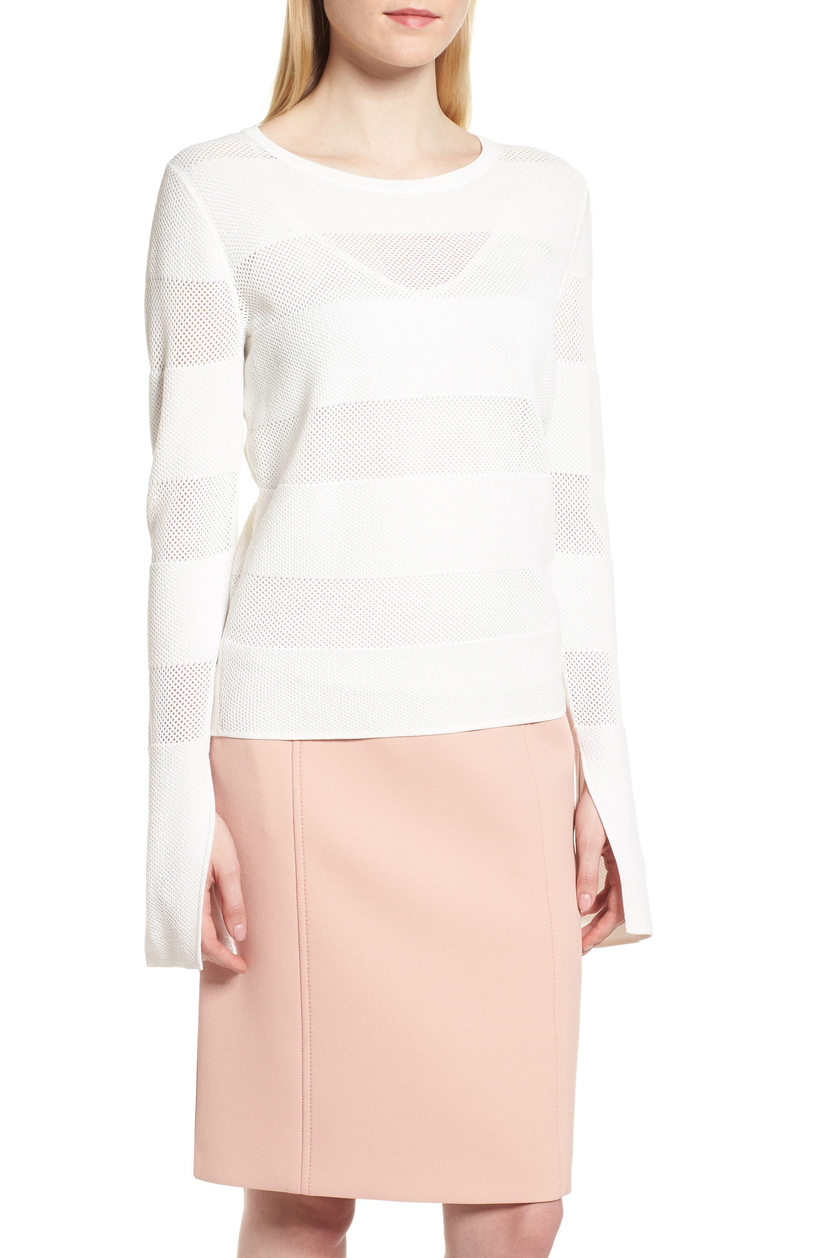 Frangy Mesh Stripe Sweater,                         Main,                         color, 112