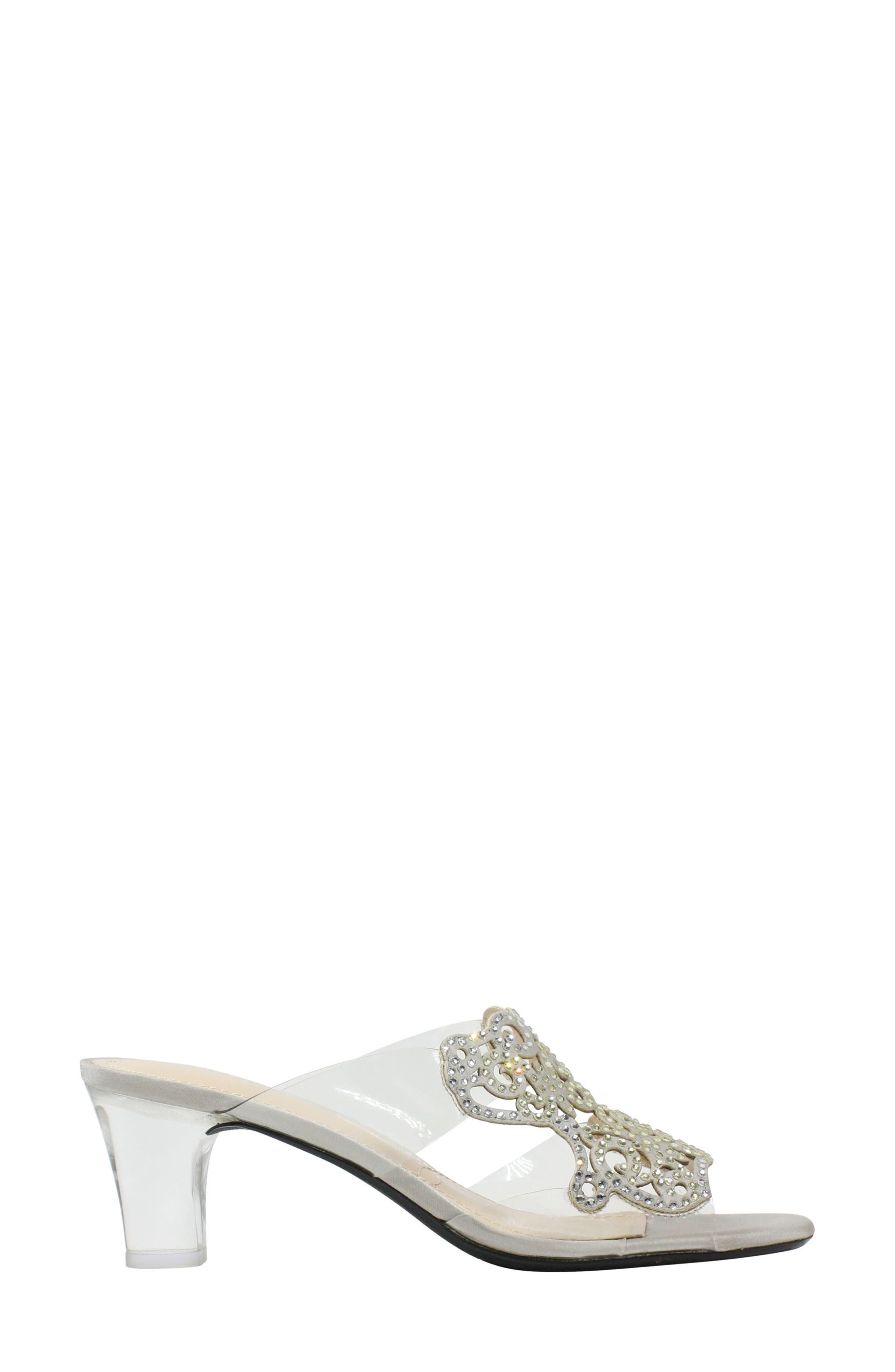 Sabreen Crystal Embellished Sandal,                             Alternate thumbnail 3, color,                             SILVER/ CLEAR