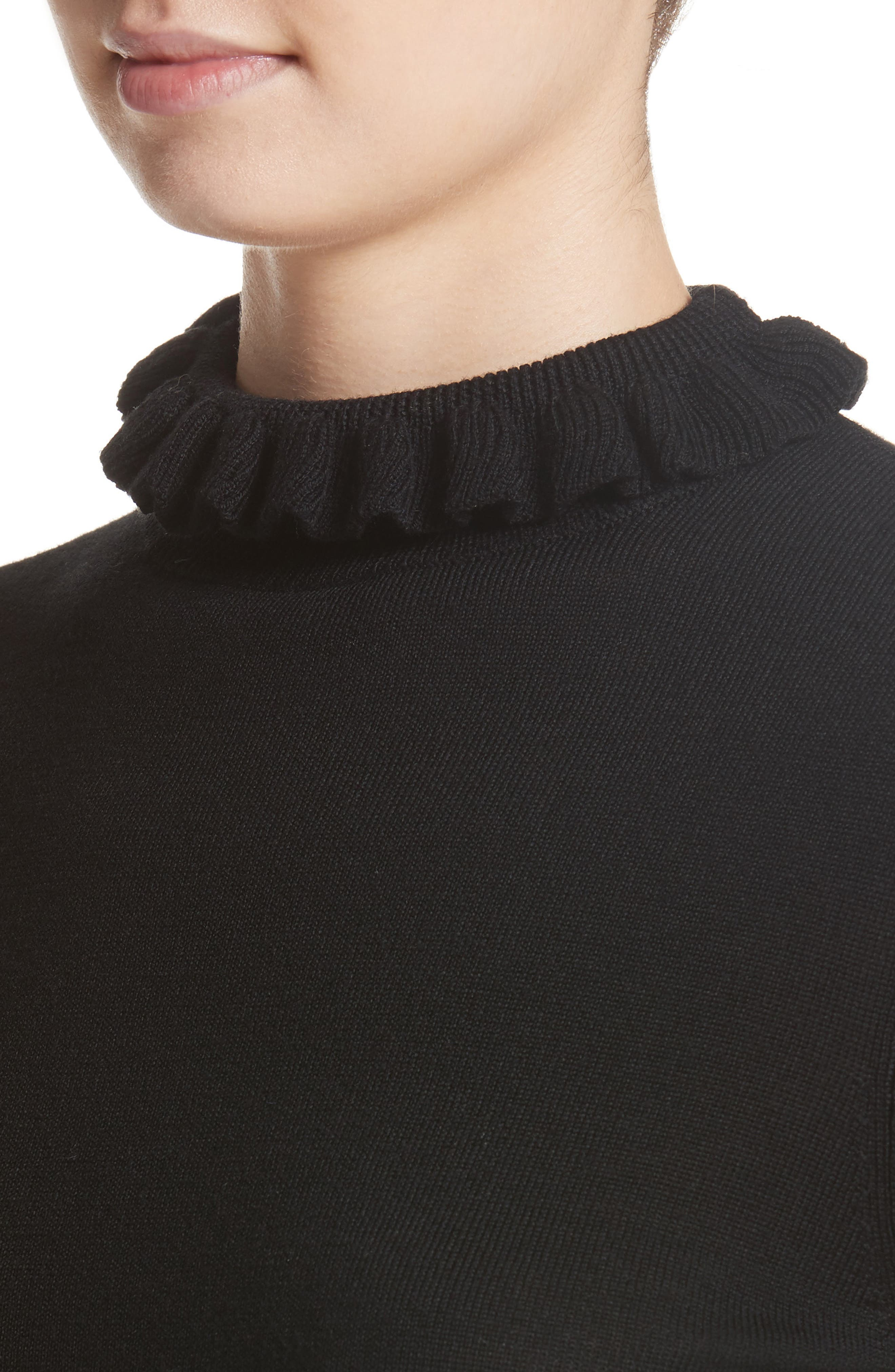Robin Frill Wool Sweater,                             Alternate thumbnail 4, color,