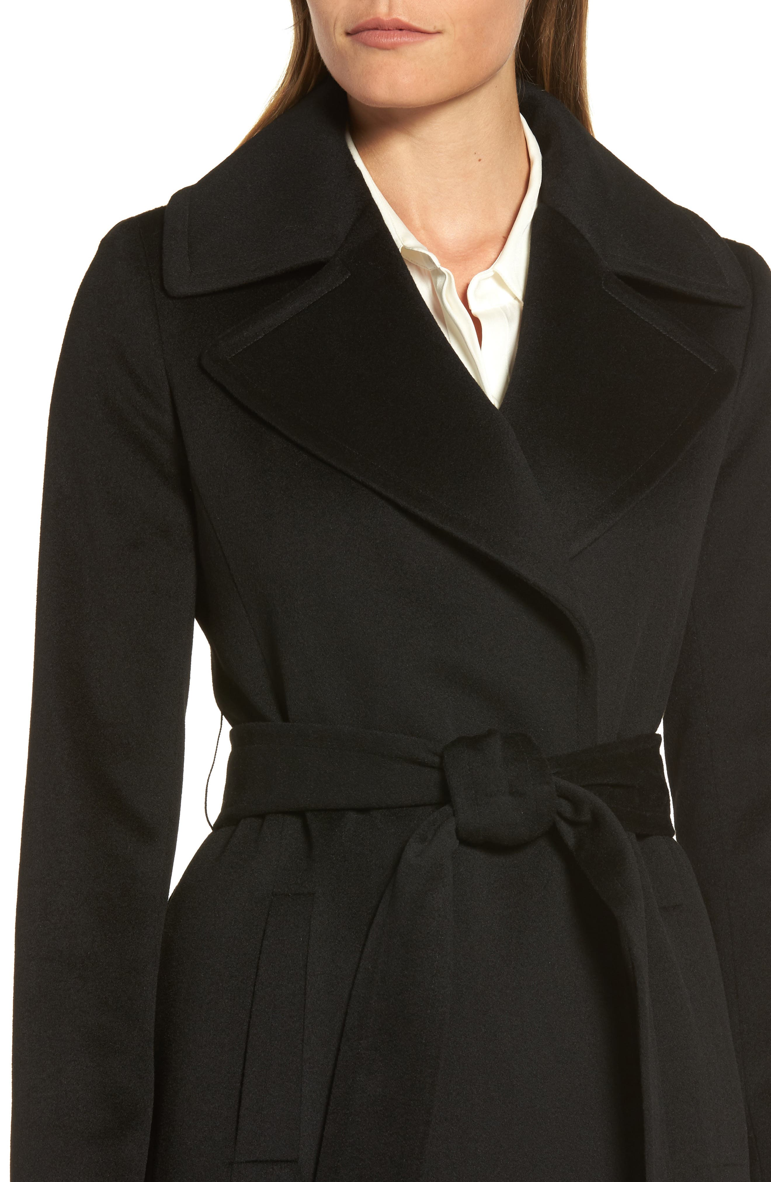 Wool Wrap Coat,                             Alternate thumbnail 4, color,                             001