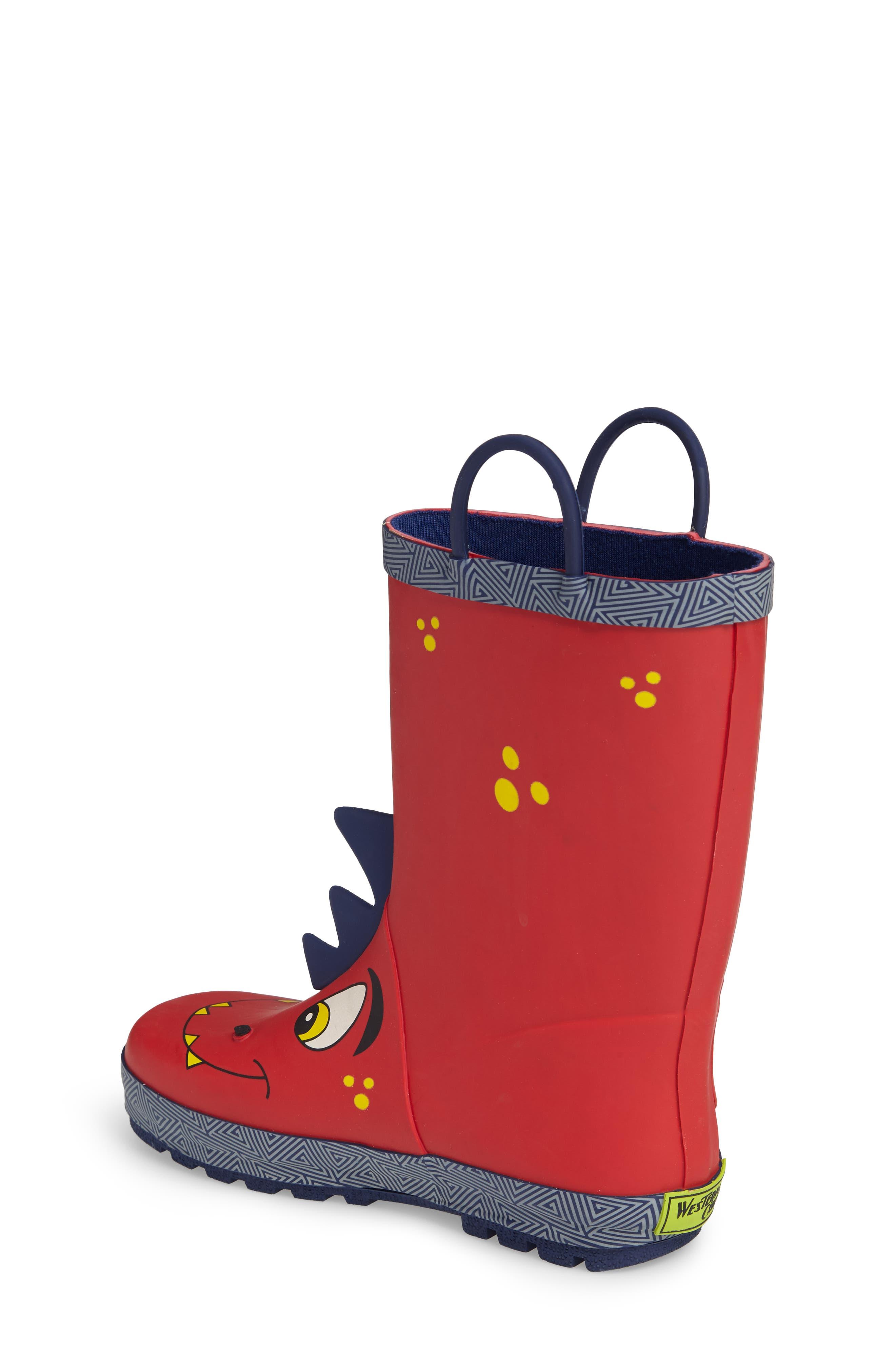 Spike Rain Boot,                             Alternate thumbnail 2, color,                             RED