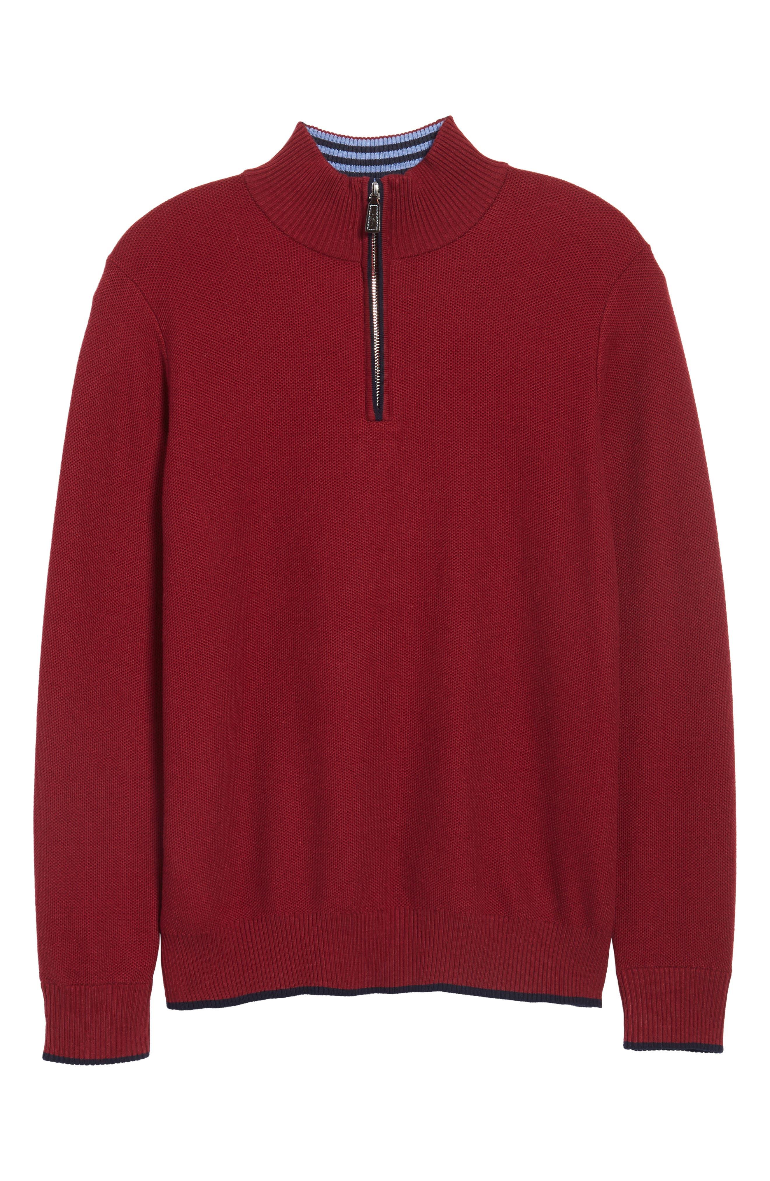 Prien Tipped Quarter Zip Sweater,                             Alternate thumbnail 6, color,                             600