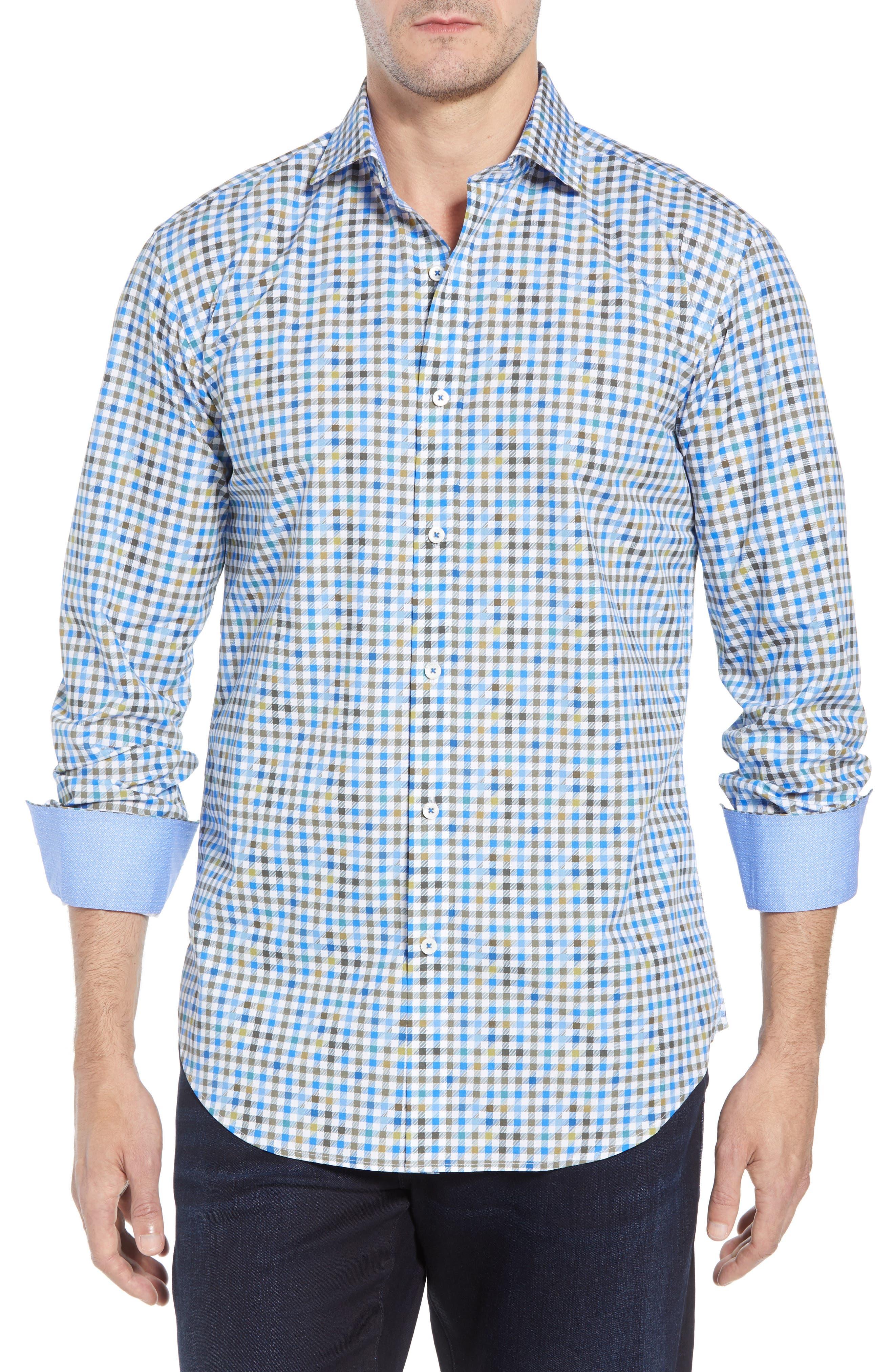 Shaped Fit Print Sport Shirt,                         Main,                         color, OLIVE