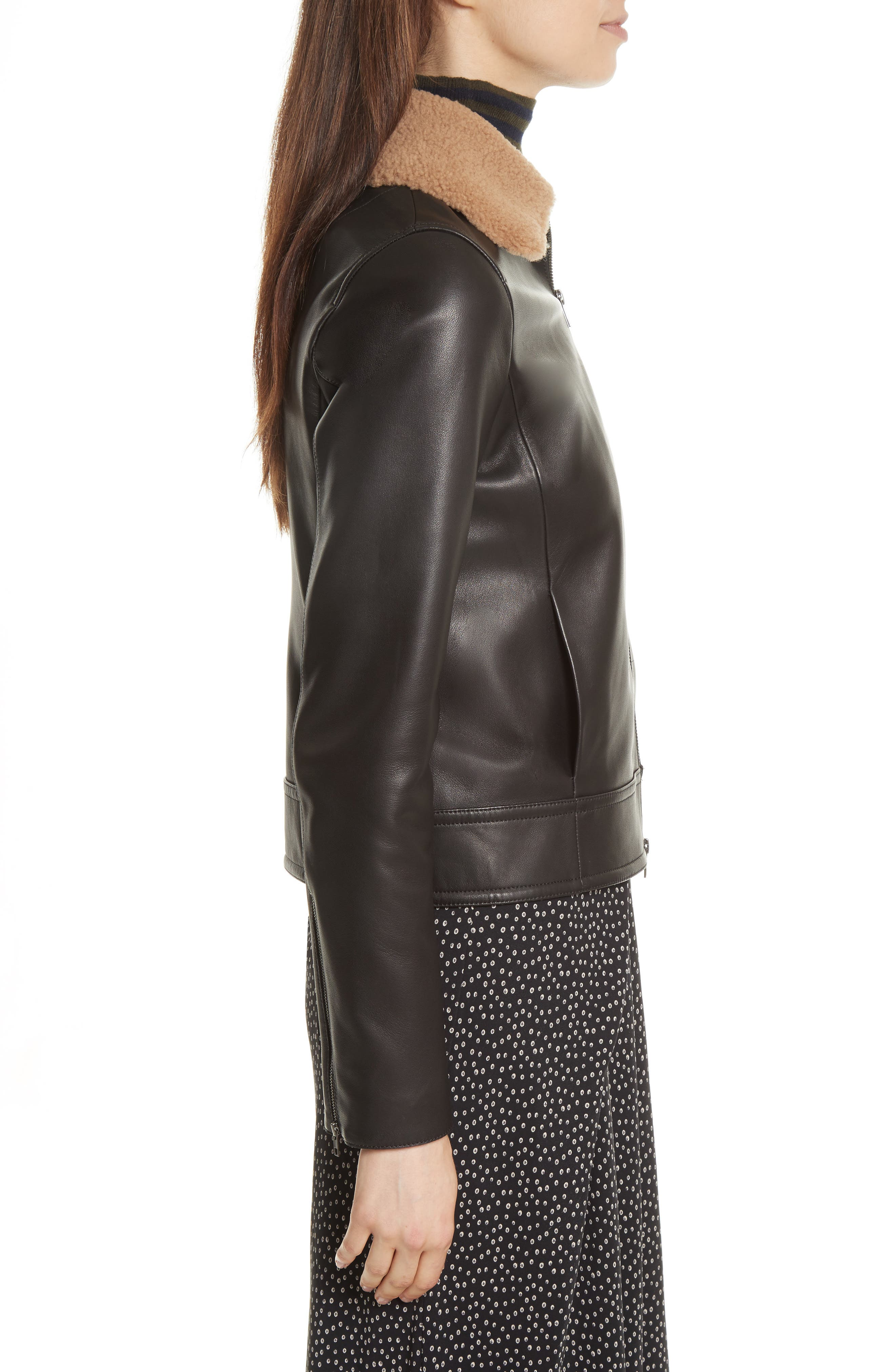 Leather Jacket with Genuine Shearling Trim,                             Alternate thumbnail 3, color,                             001