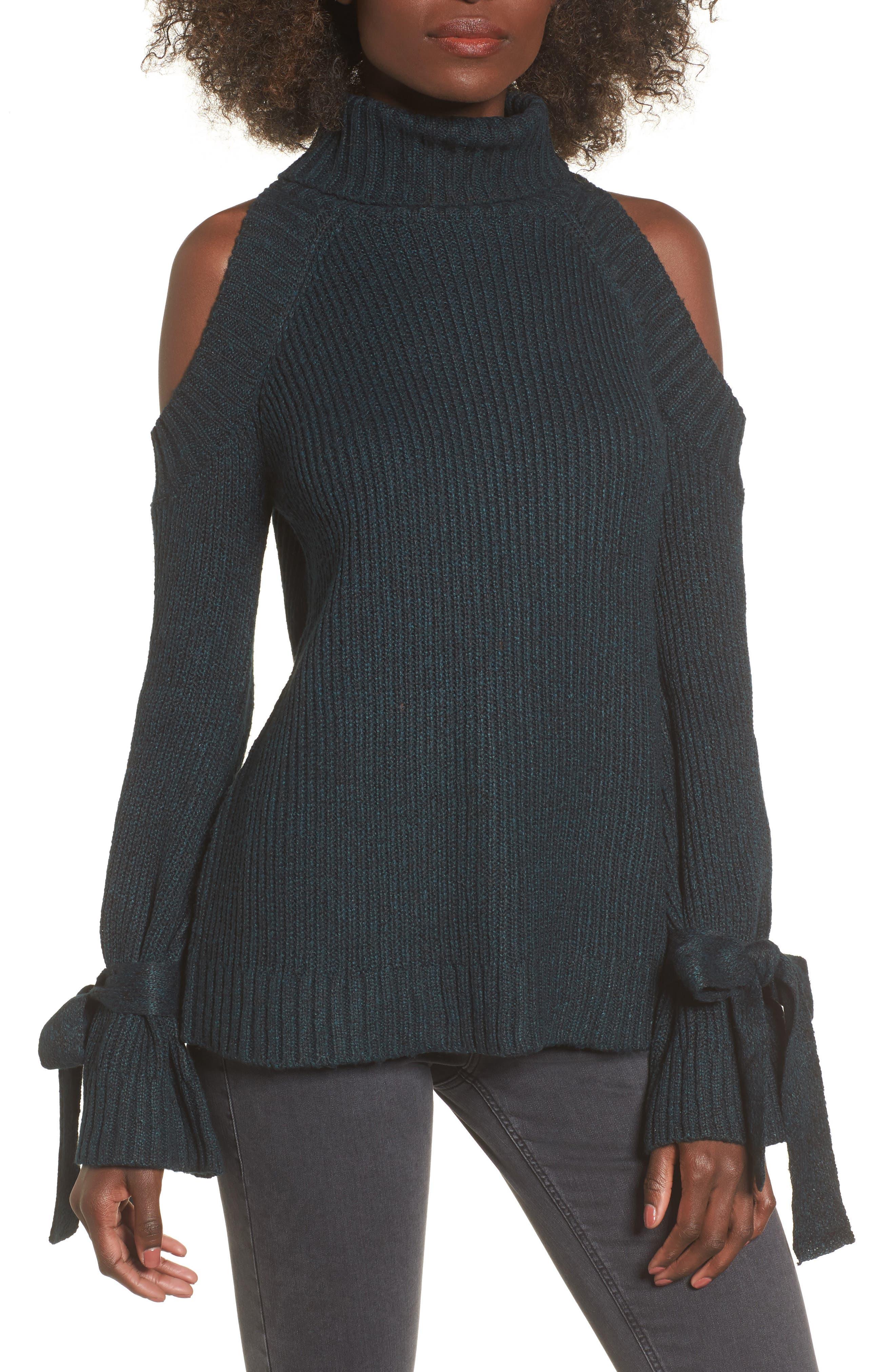 Cold Shoulder Turtleneck Sweater,                             Main thumbnail 1, color,                             300