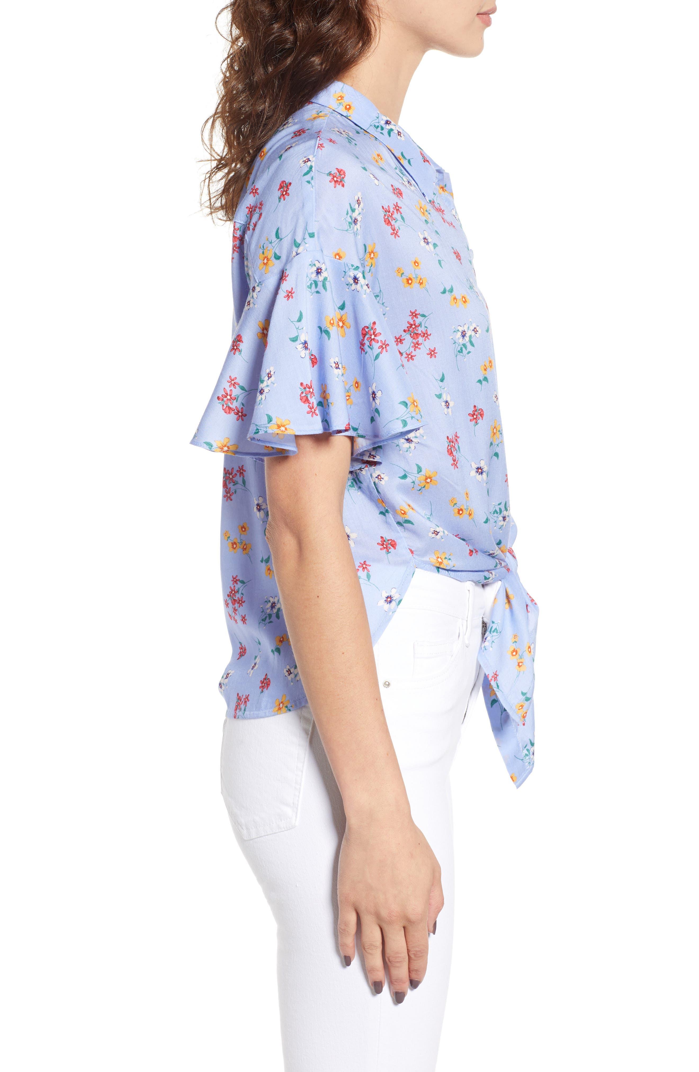 Floral Tie Hem Flutter Sleeve Top,                             Alternate thumbnail 3, color,                             400
