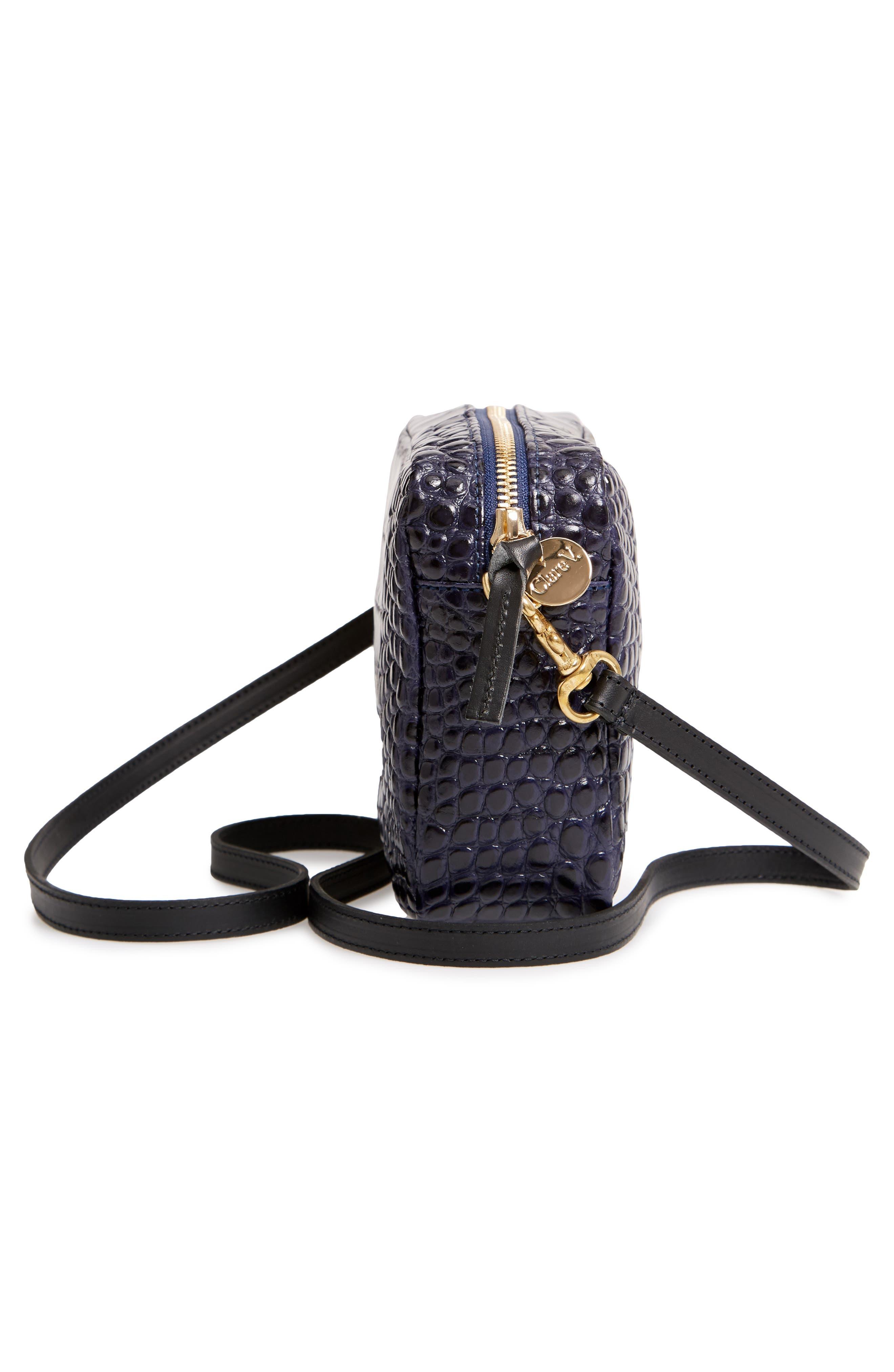 Midi Sac Croc Embossed Leather Crossbody Bag,                             Alternate thumbnail 5, color,                             MIDNIGHT CROCO