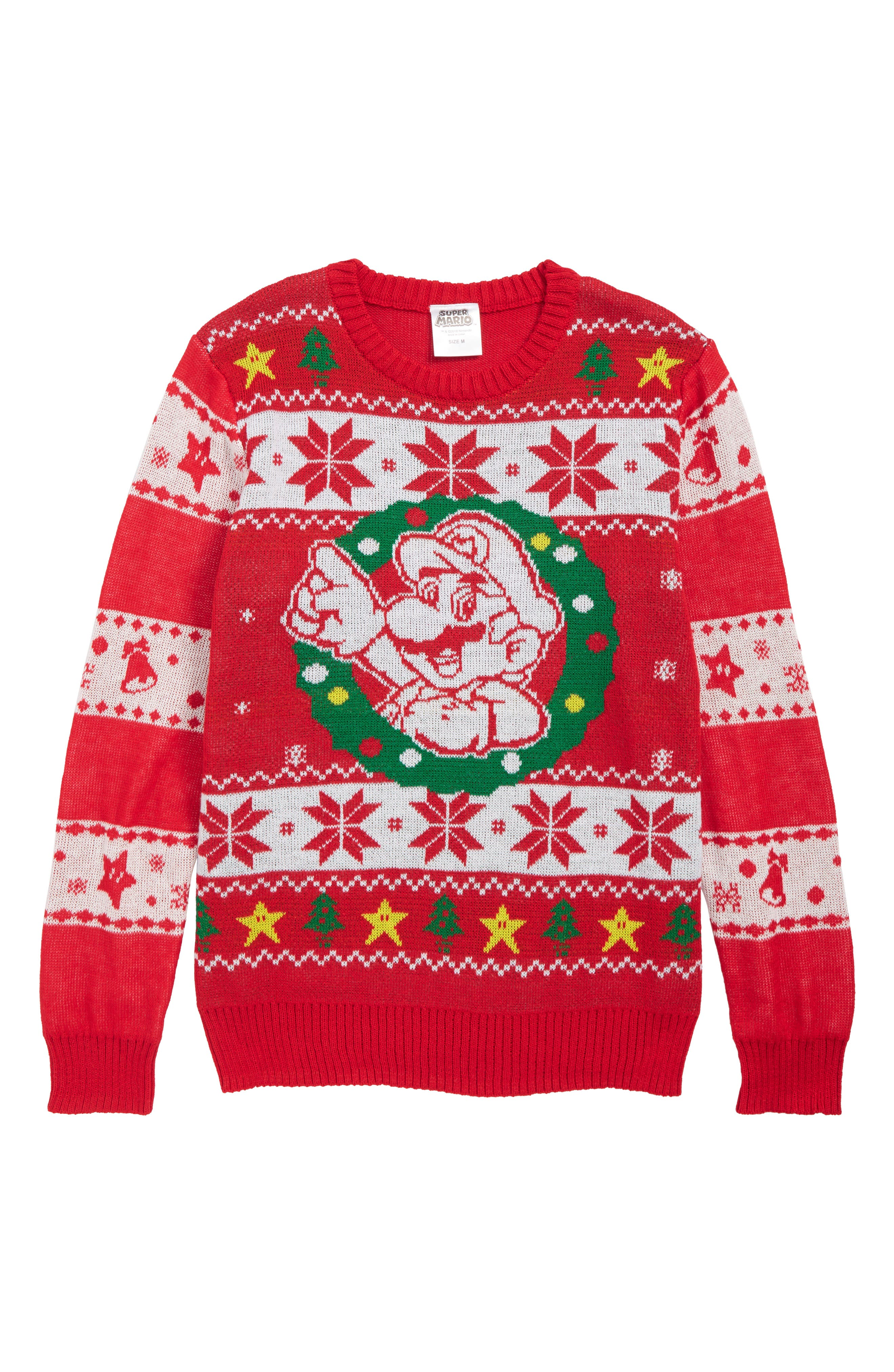 x Nintendo Super Mario<sup>™</sup> Holiday Sweater,                             Main thumbnail 1, color,                             RED