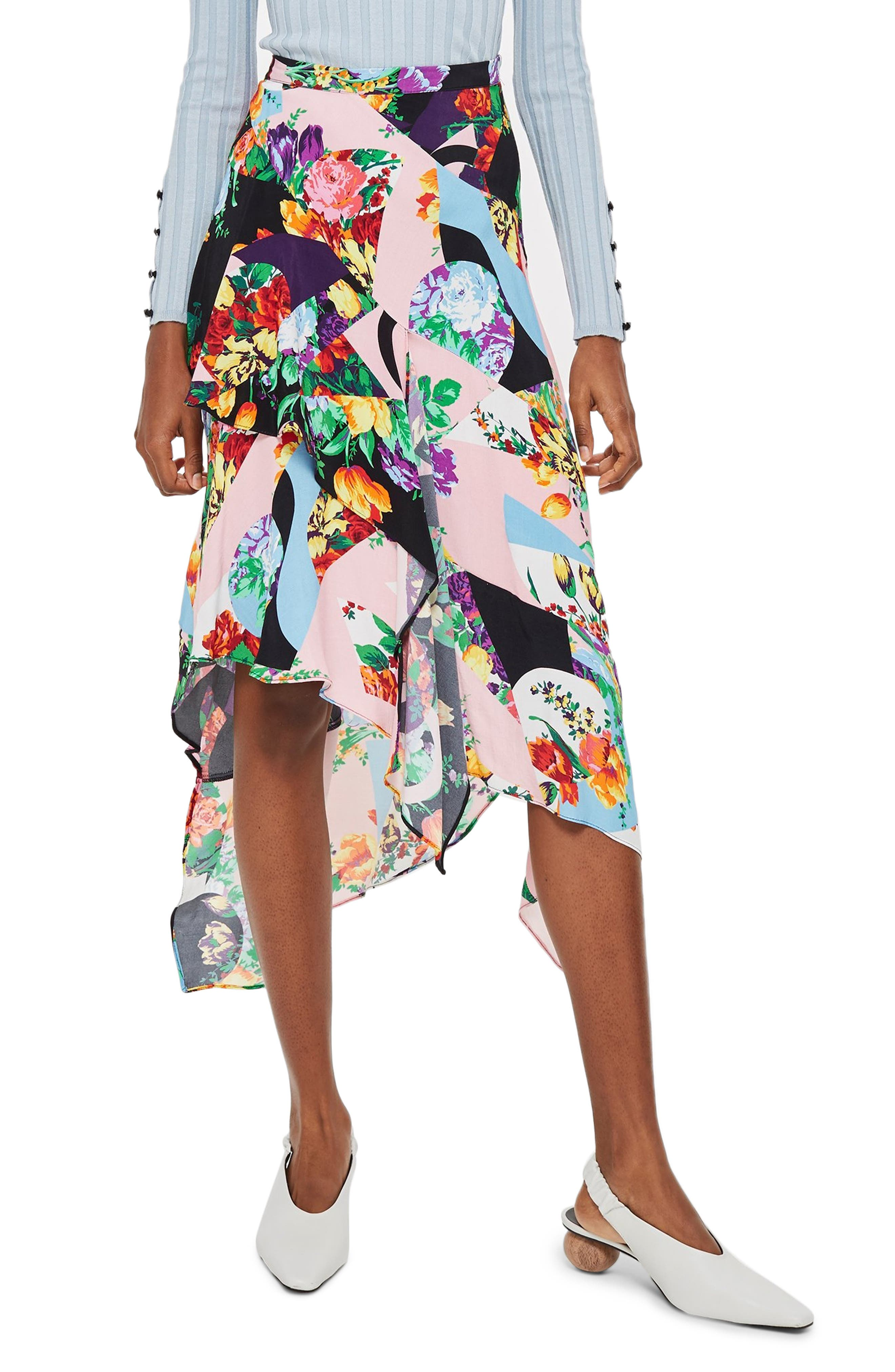 Topshop Spliced Floral Print Midi Skirt, US (fits like 0) - Pink