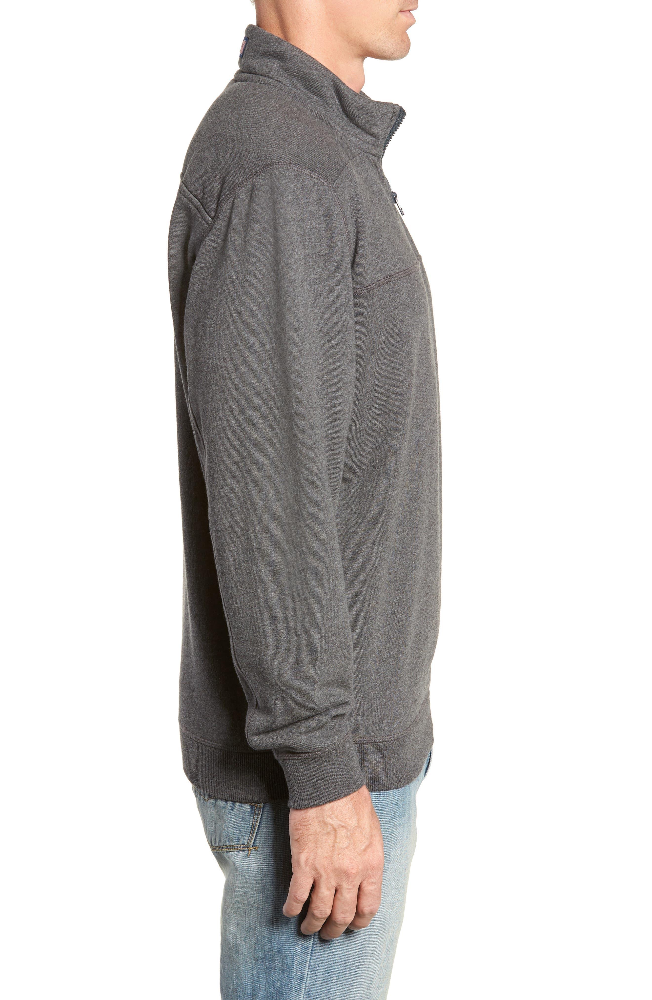 Quarter Zip Fleece Pullover,                             Alternate thumbnail 3, color,                             PEBBLE