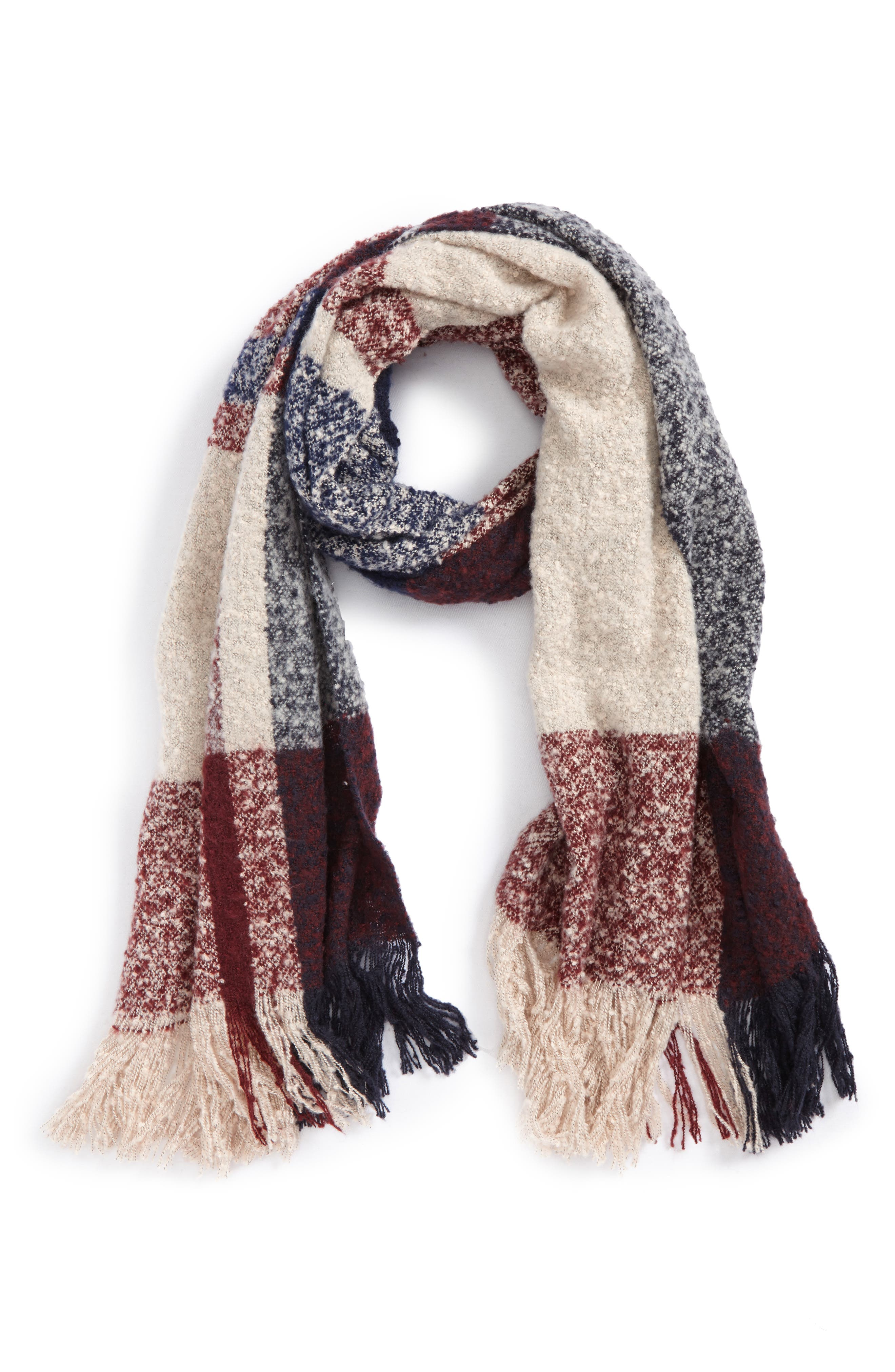 Bouclé Plaid Oblong Scarf, Main, color, 900