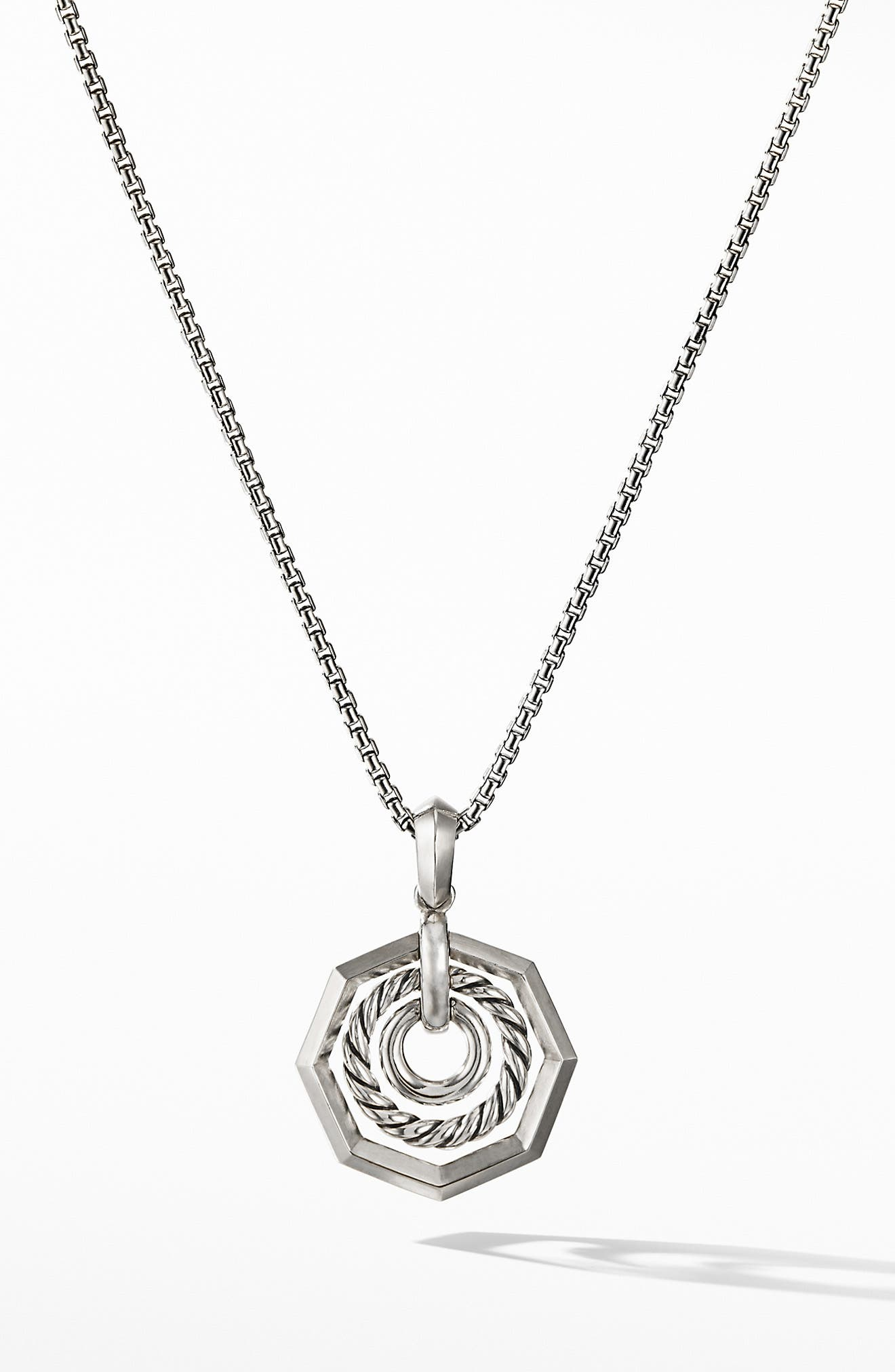 Stax Pendant Necklace with Diamonds,                             Alternate thumbnail 3, color,                             SILVER/ DIAMOND
