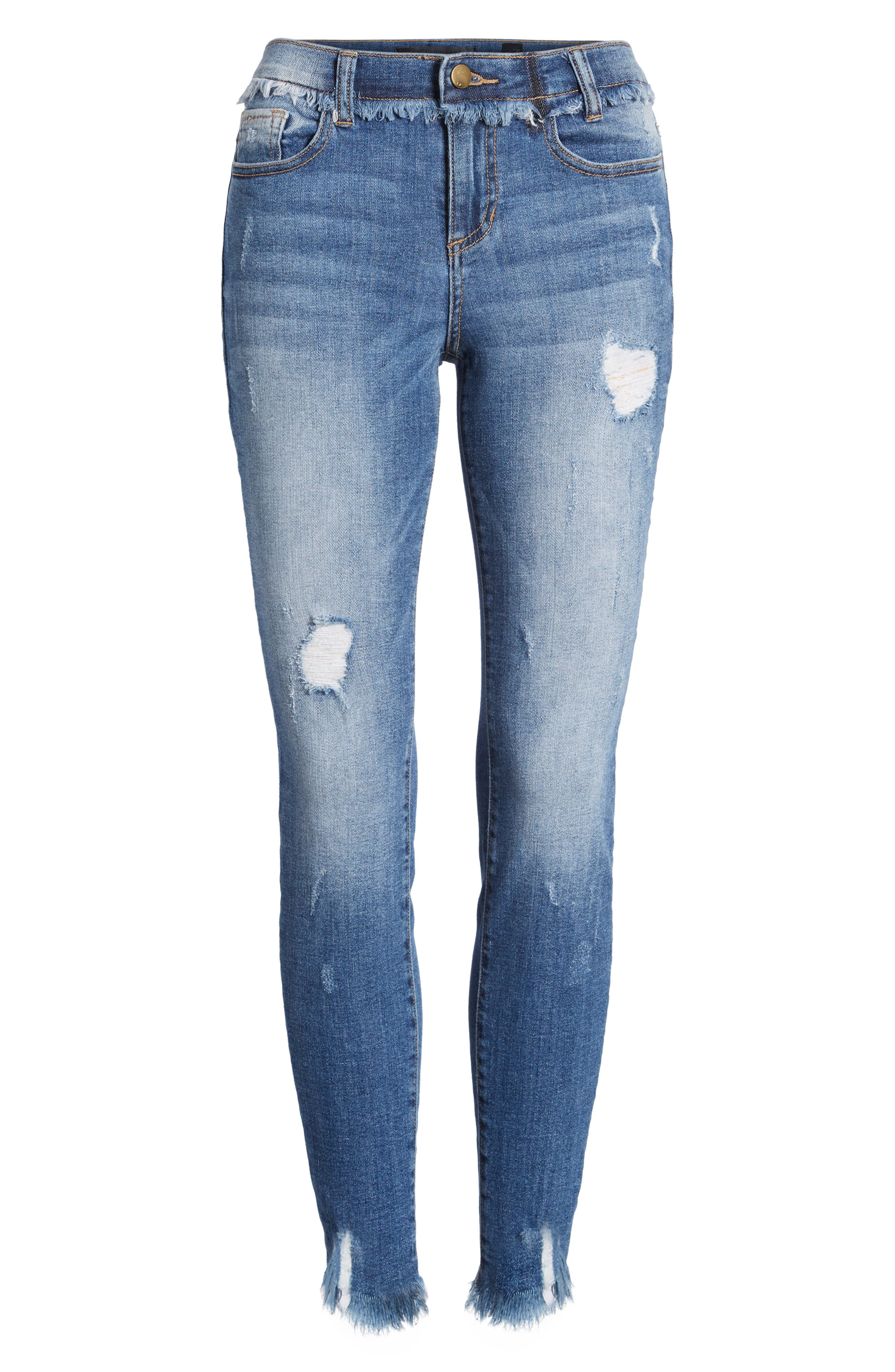 Frayed Waist Skinny Jeans,                             Alternate thumbnail 7, color,                             429