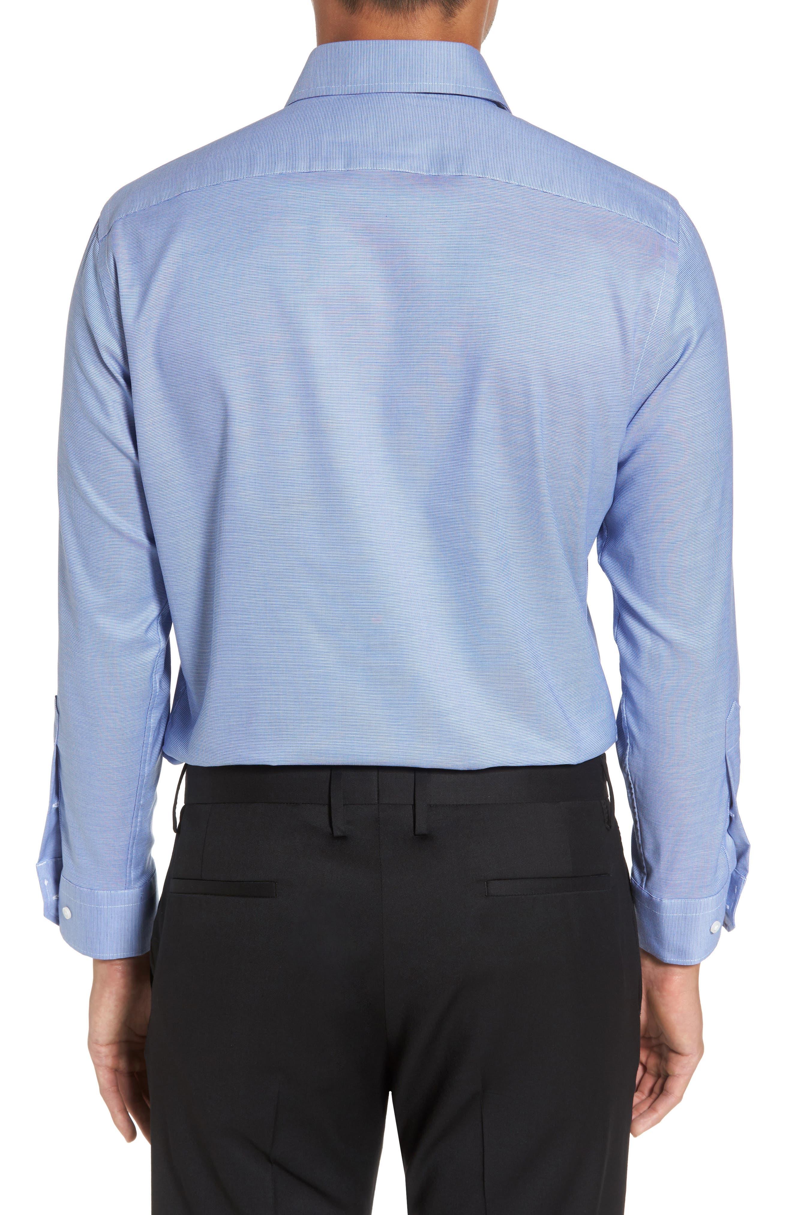 Trim Fit Non-Iron Stretch Solid Dress Shirt,                             Alternate thumbnail 4, color,