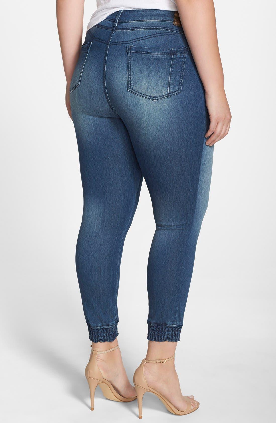 'Suzzie' Stretch Knit Denim Crop Jeans,                             Alternate thumbnail 2, color,                             DARK BLUE