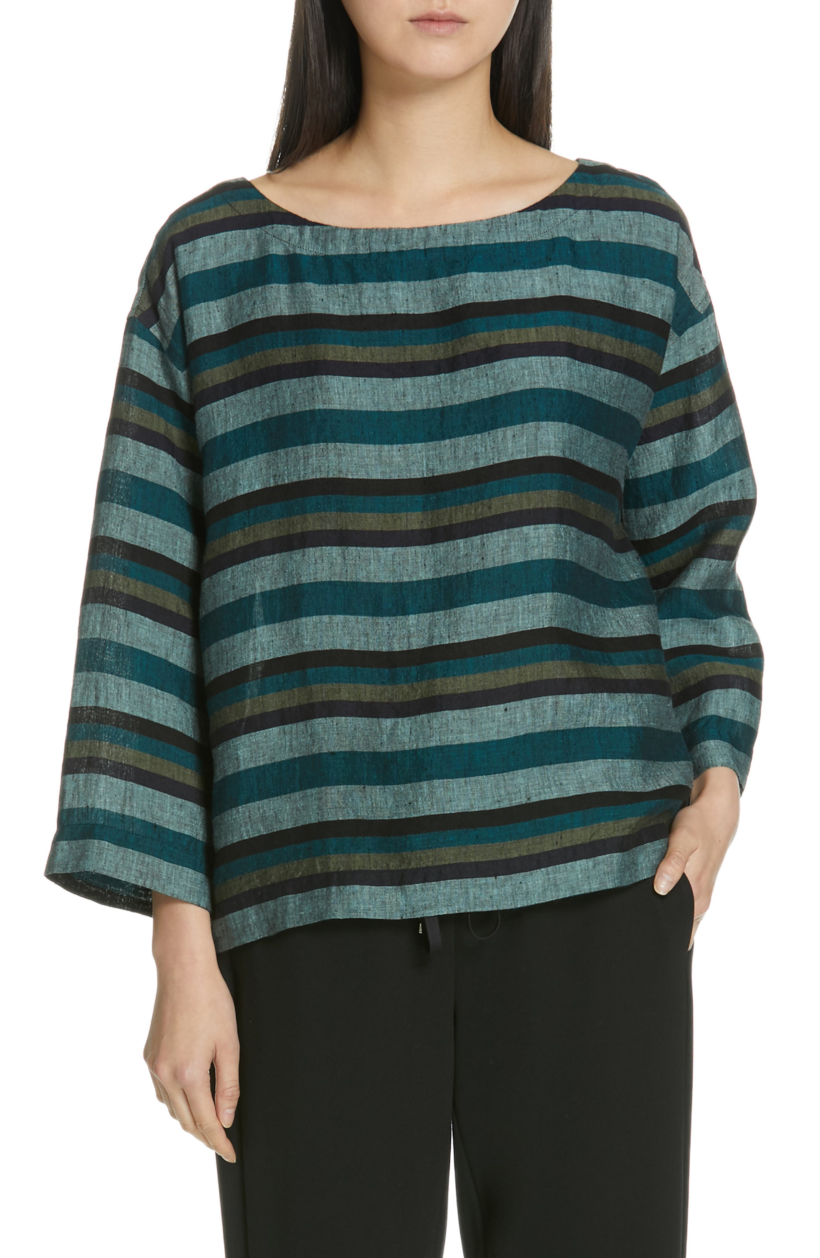 Stripe Organic Linen Top, Main, color, TEAL