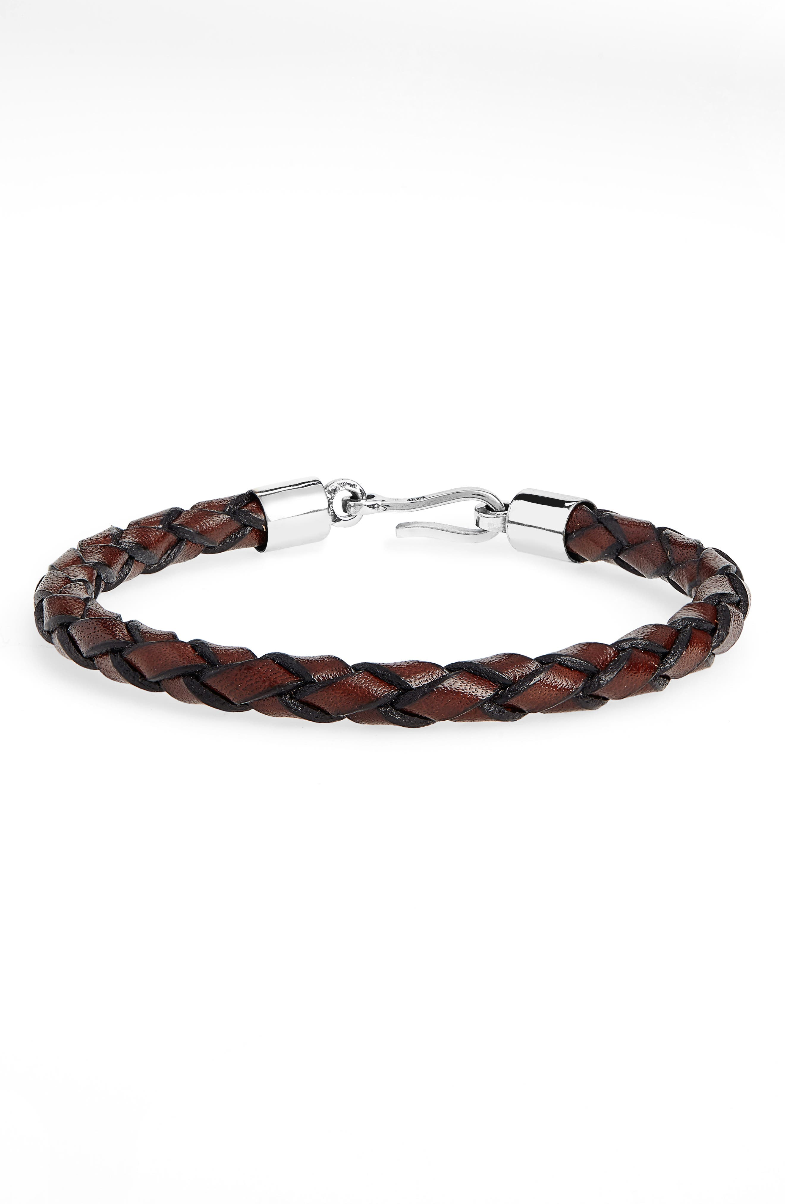 CAPUTO & CO. Braided Leather Bracelet in Brown