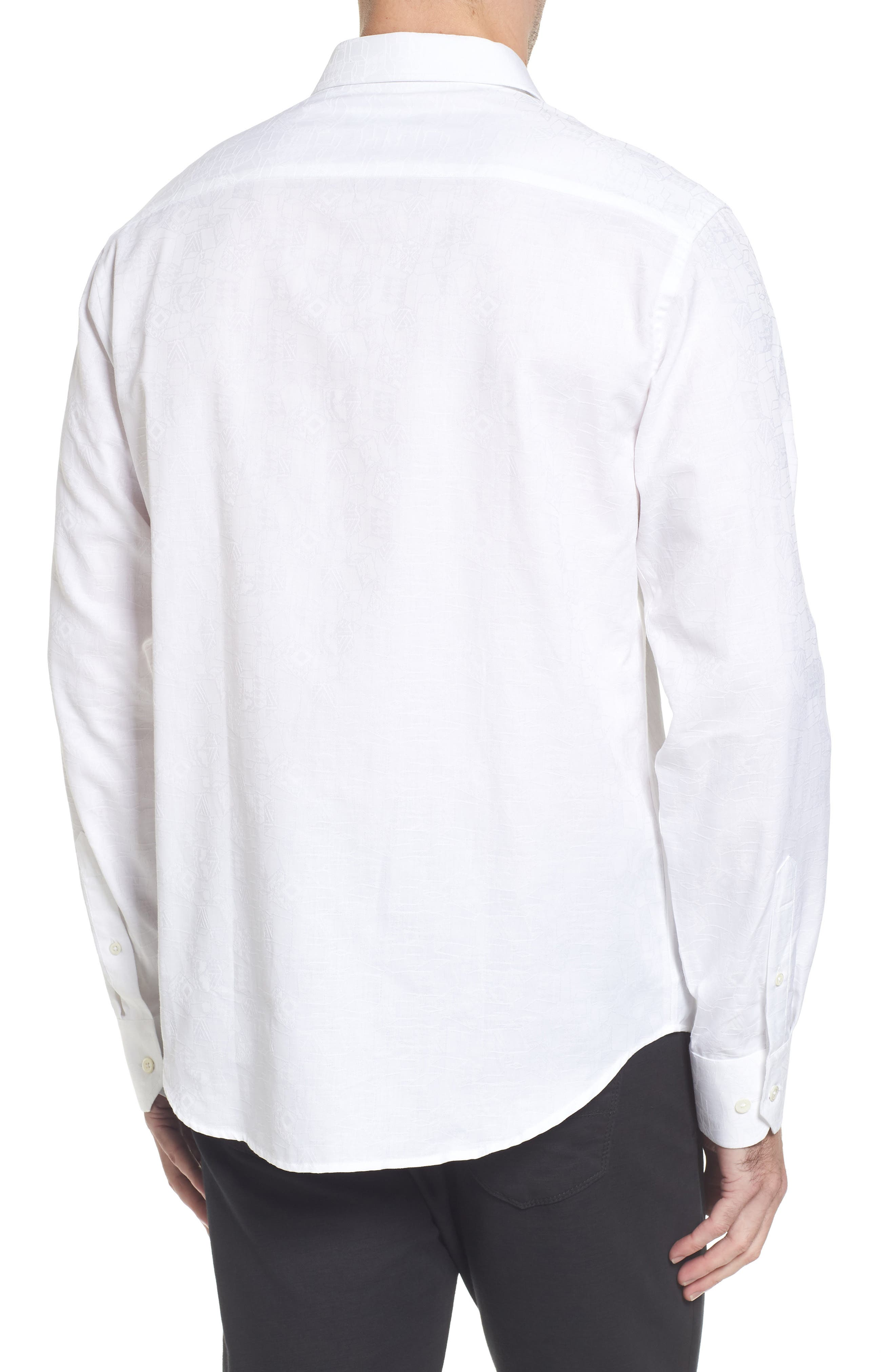 Classic Fit Jacquard Sport Shirt,                             Alternate thumbnail 2, color,