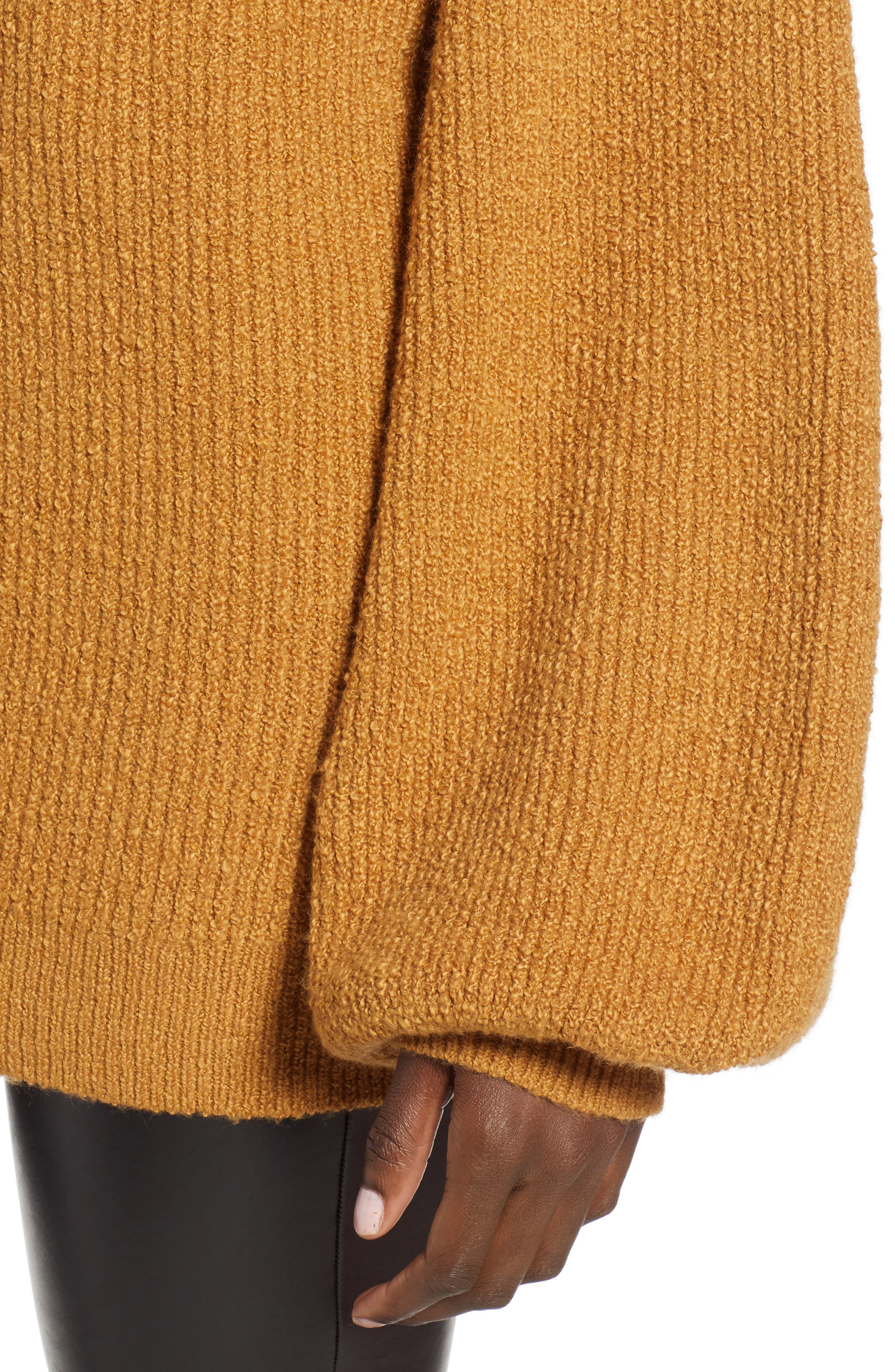 Knit Funnel Neck Tunic,                             Alternate thumbnail 4, color,                             BROWN CATTAIL