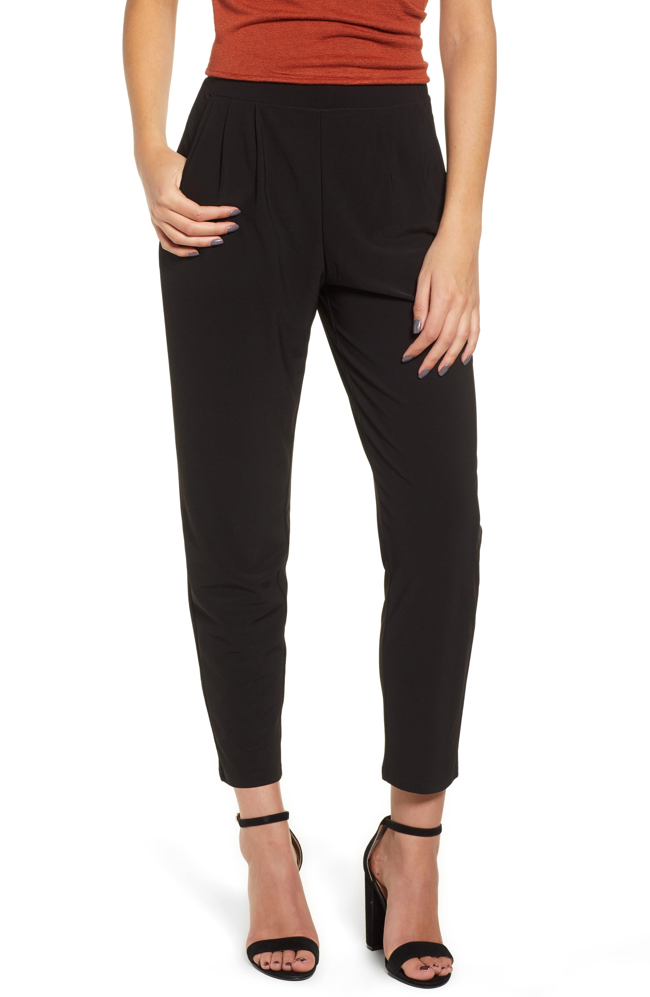 Pleat Front Trousers,                         Main,                         color, BLACK