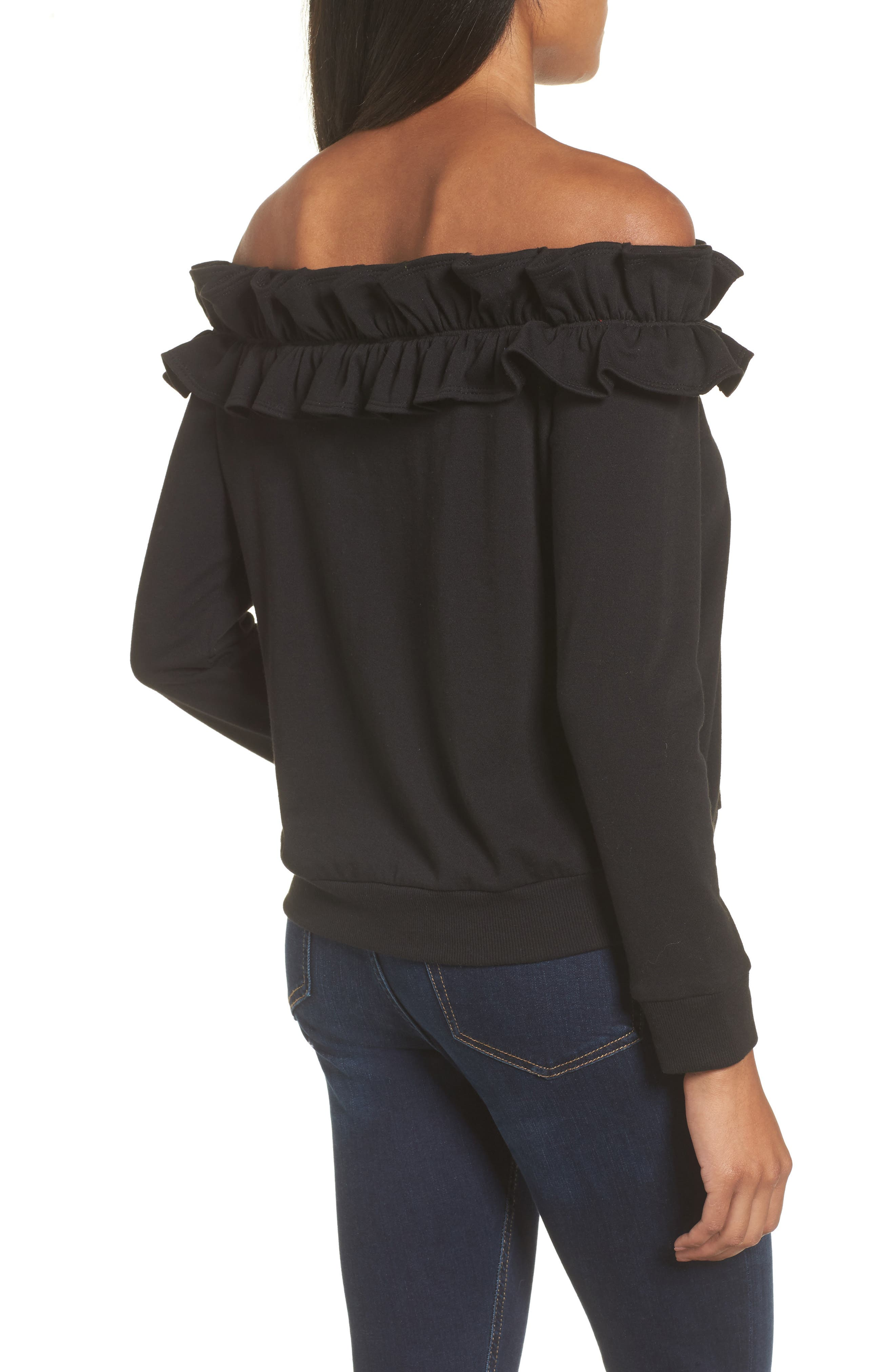Ruffle Off the Shoulder Top,                             Alternate thumbnail 2, color,                             001