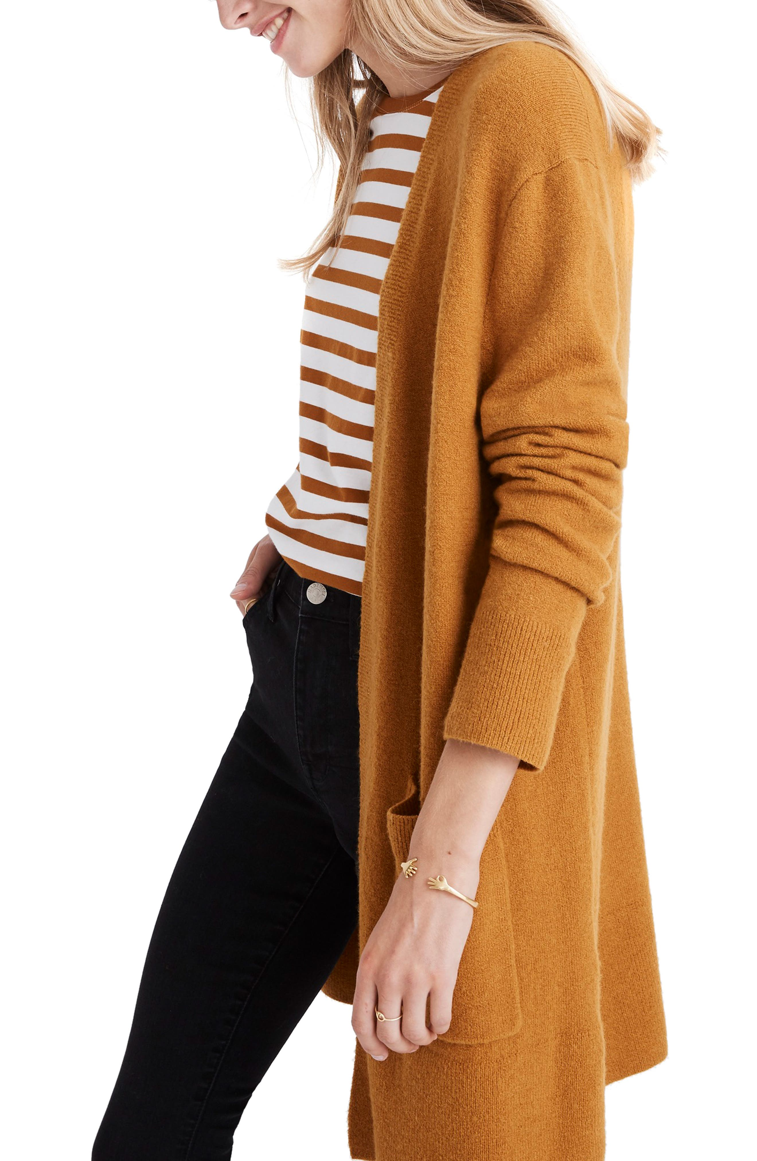 MADEWELL,                             Kent Cardigan Sweater,                             Alternate thumbnail 3, color,                             GOLDEN HARVEST
