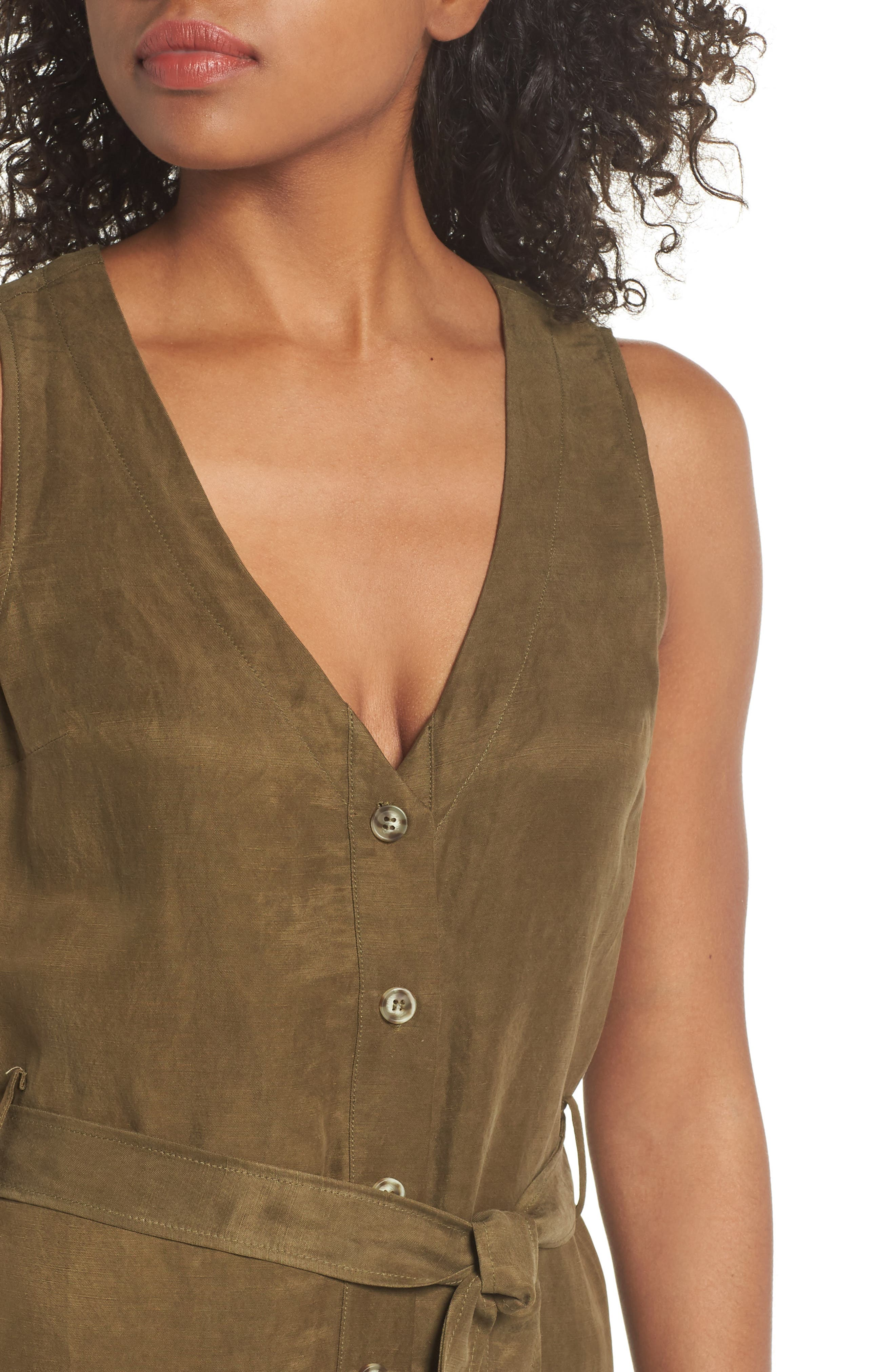 Sleeveless V-Neck Jumpsuit,                             Alternate thumbnail 4, color,                             300