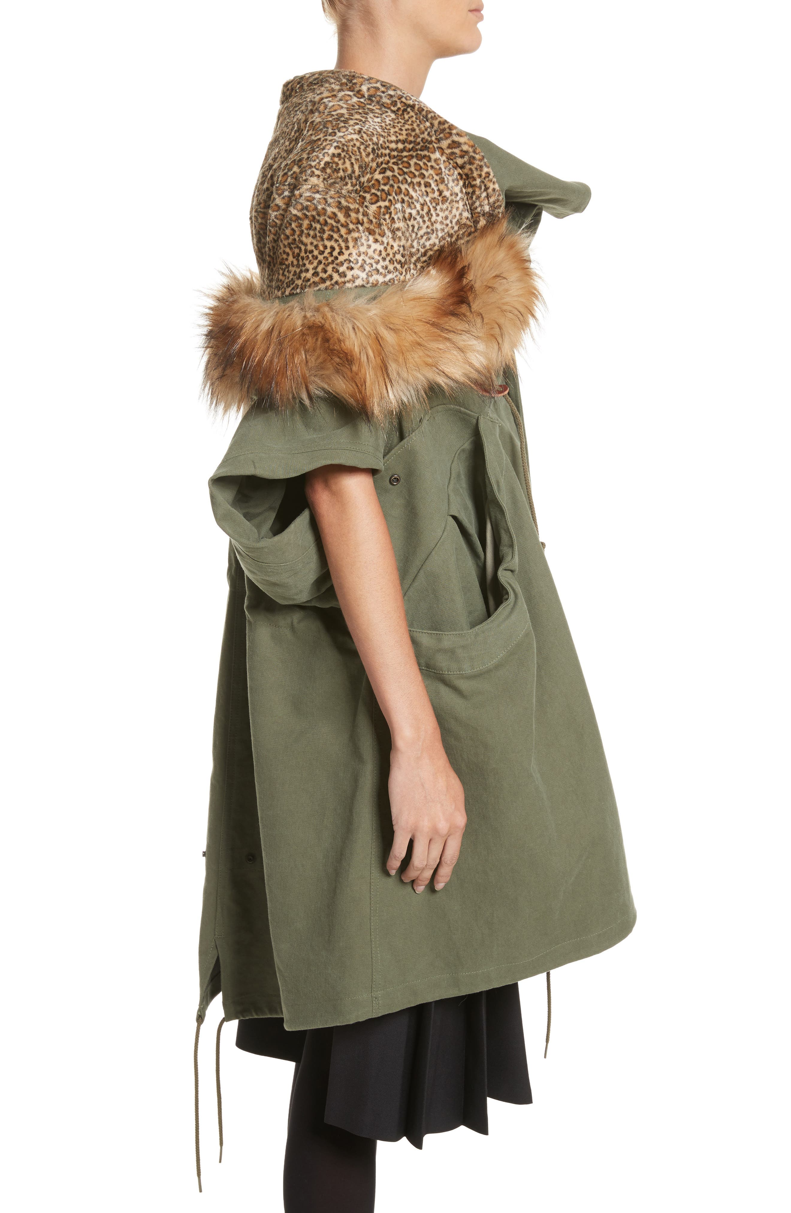 Army Coat with Cheetah Faux Fur Hood,                             Alternate thumbnail 3, color,                             340