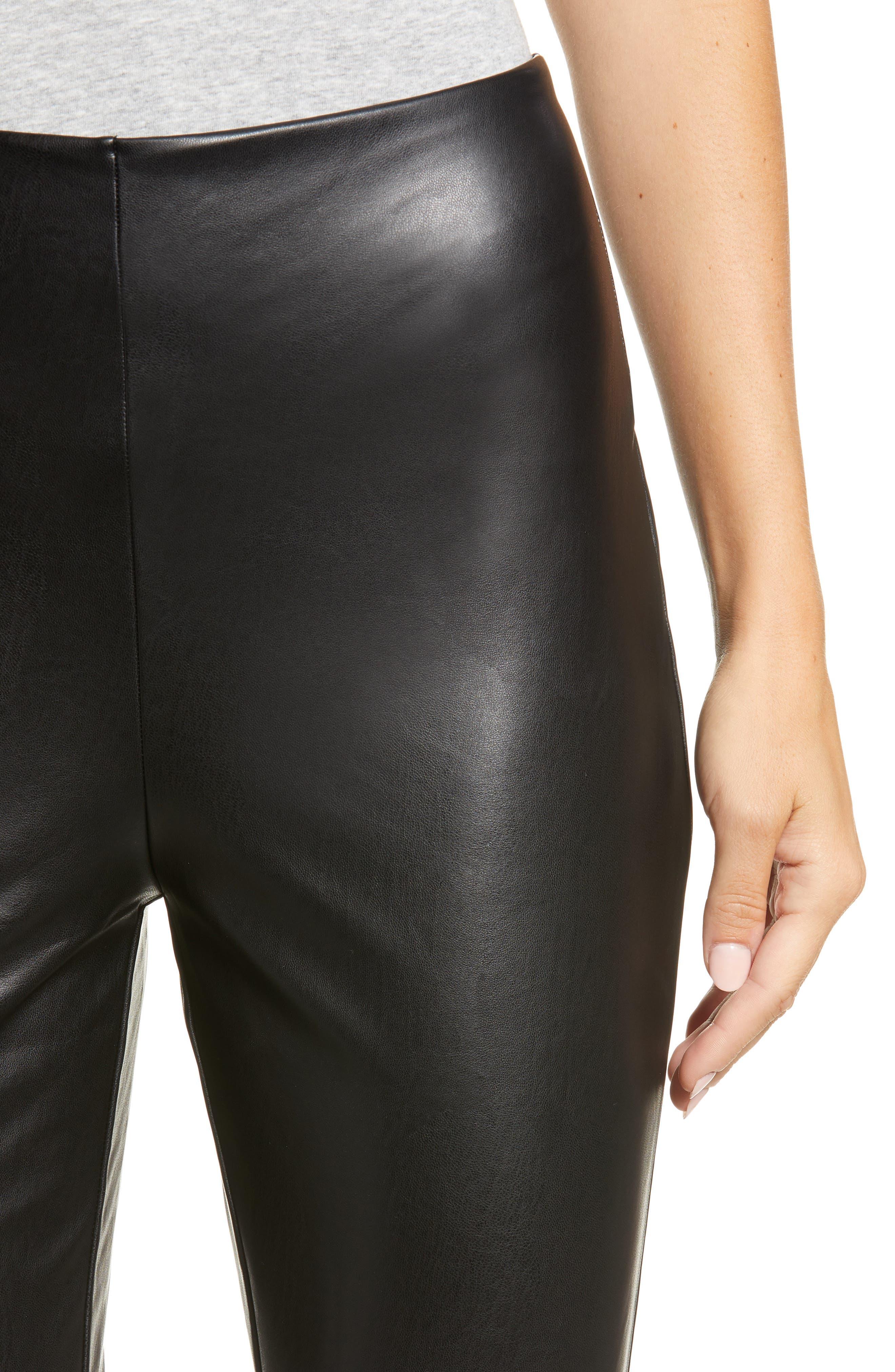 Faux Leather Leggings,                             Alternate thumbnail 4, color,                             001