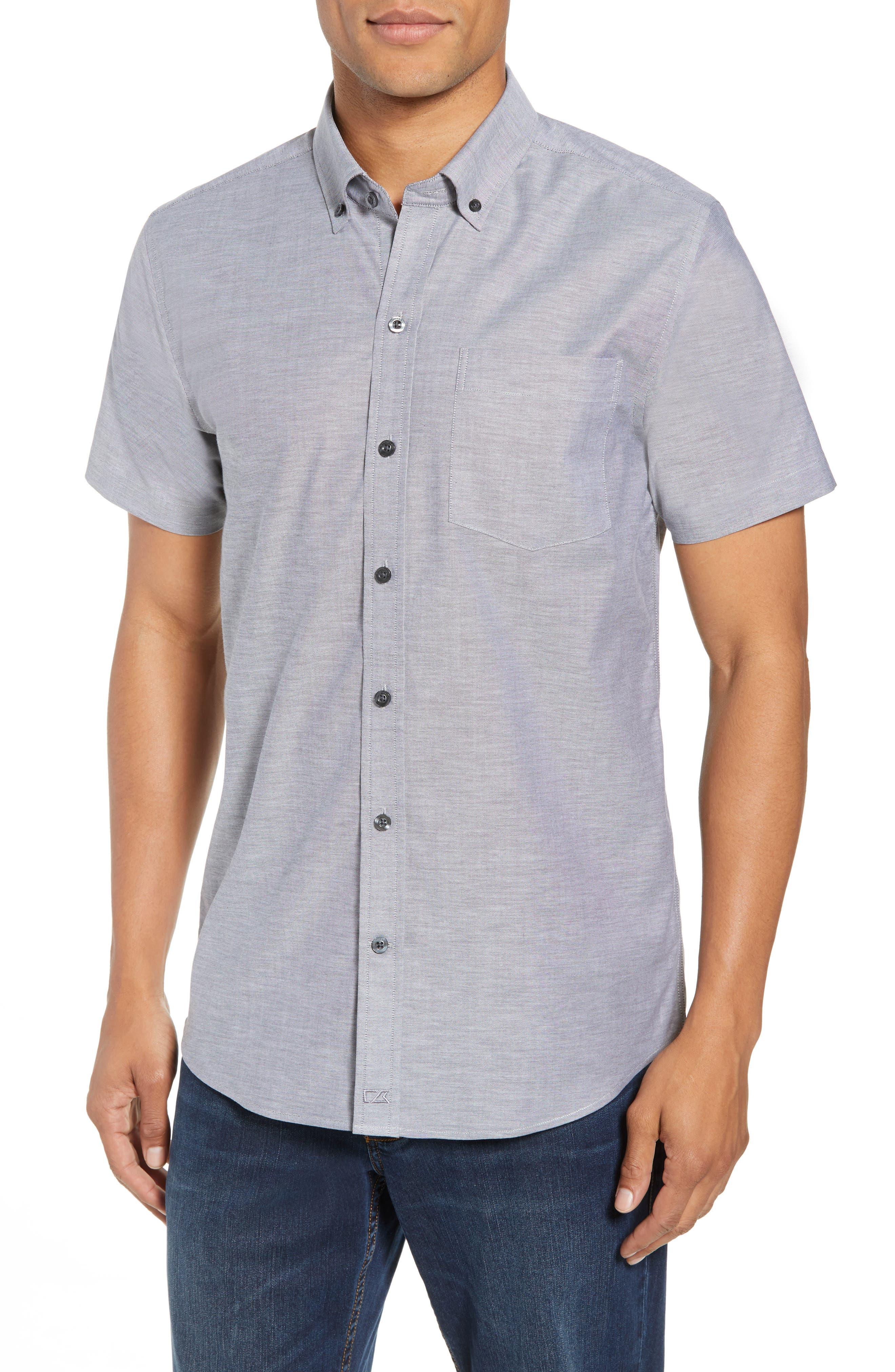 Cutter & Buck Tailor Regular Fit Oxford Sport Shirt, Black