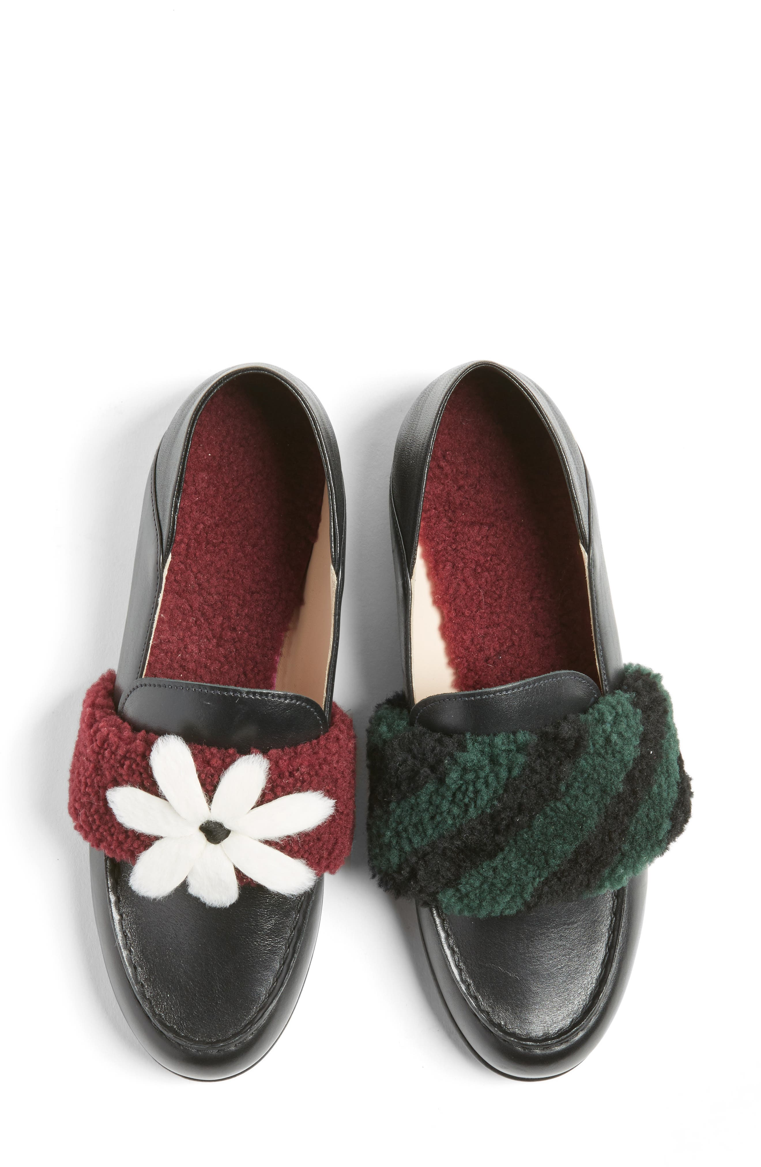 Genuine Shearling Slip-On Loafer,                             Alternate thumbnail 4, color,                             001
