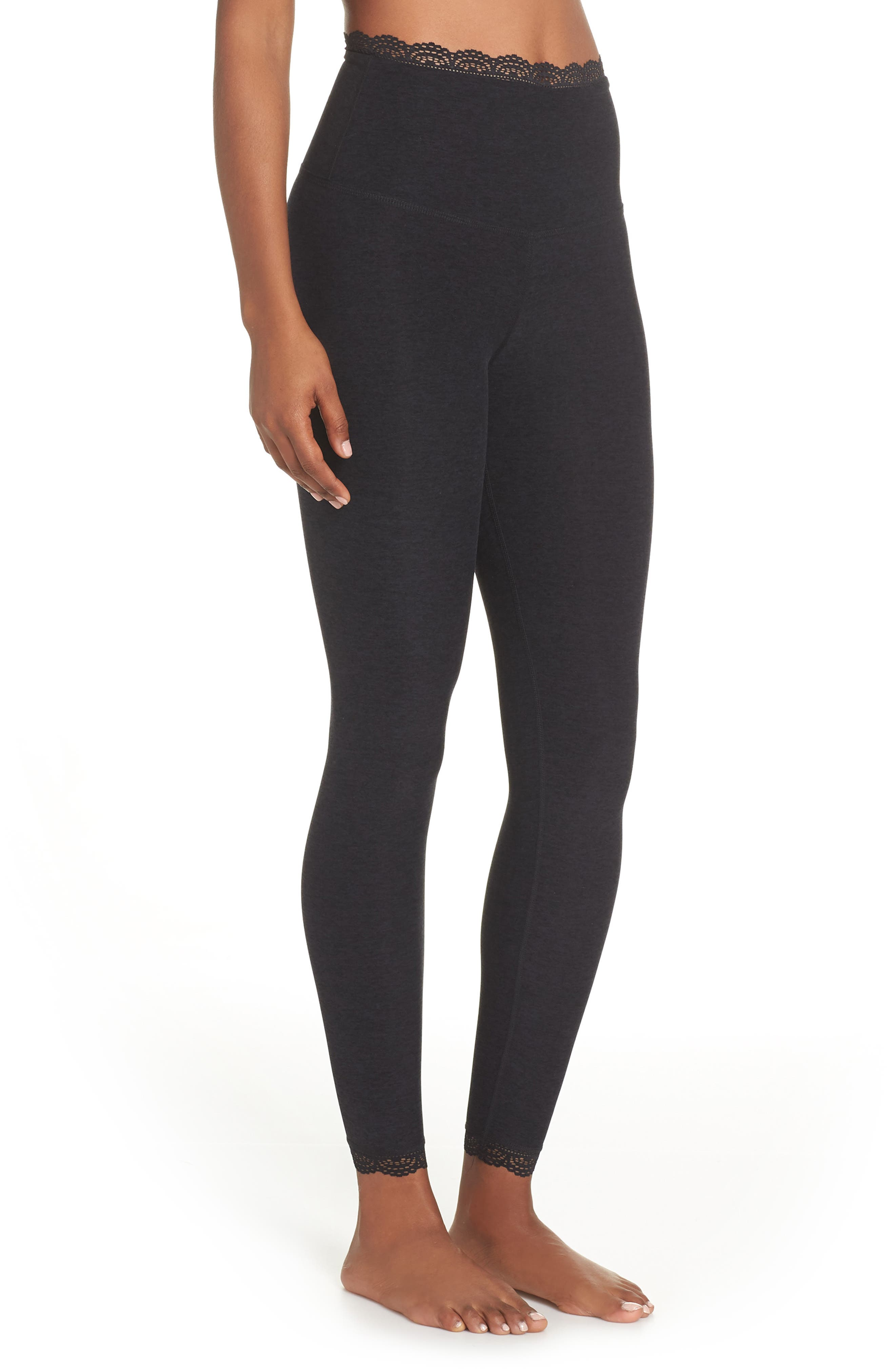 BEYOND YOGA,                             All For Lace Leggings,                             Alternate thumbnail 4, color,                             003