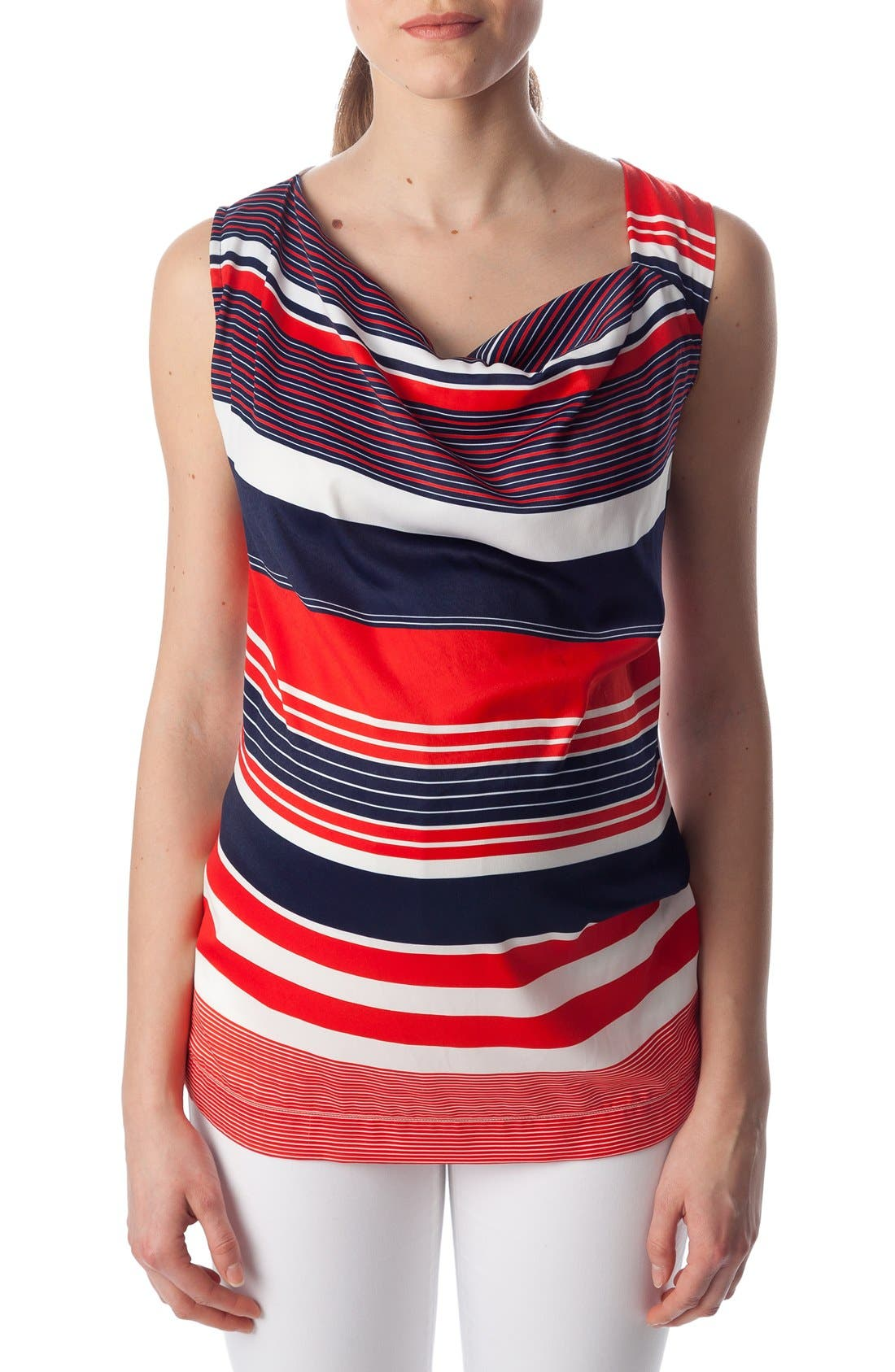 'Fialka' Maternity Top,                             Alternate thumbnail 4, color,                             RED/BLUE STRIPES