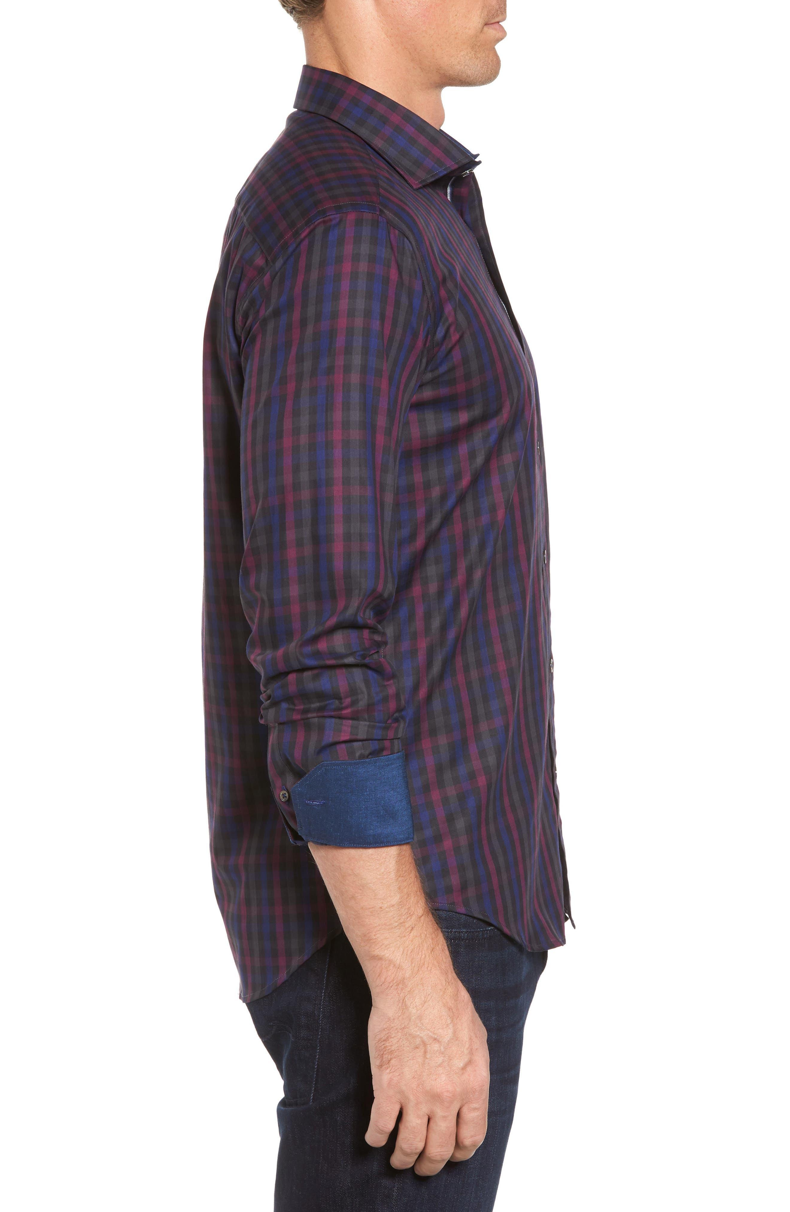 Shaped Fit Herringbone Plaid Sport Shirt,                             Alternate thumbnail 3, color,                             503