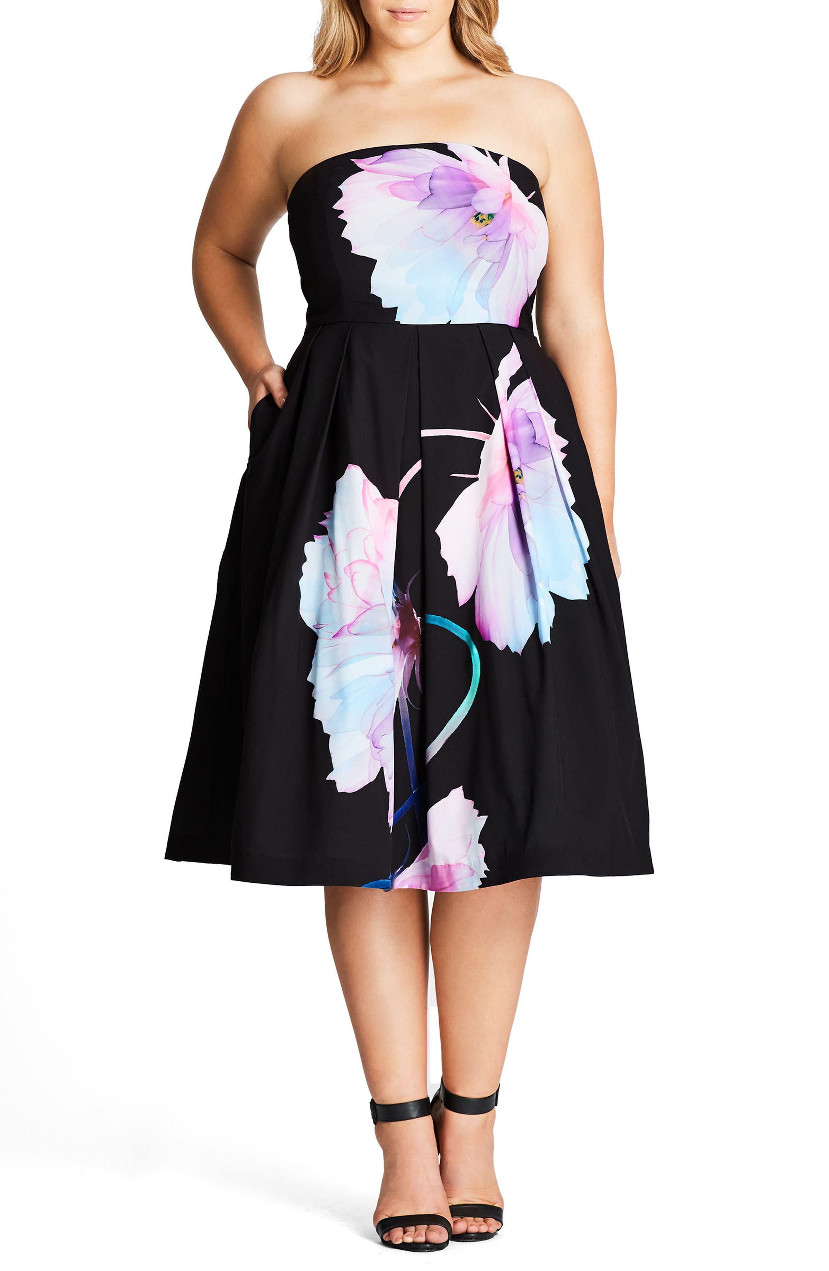 Pretty Bloom Convertible Sundress,                             Alternate thumbnail 4, color,                             BLACK