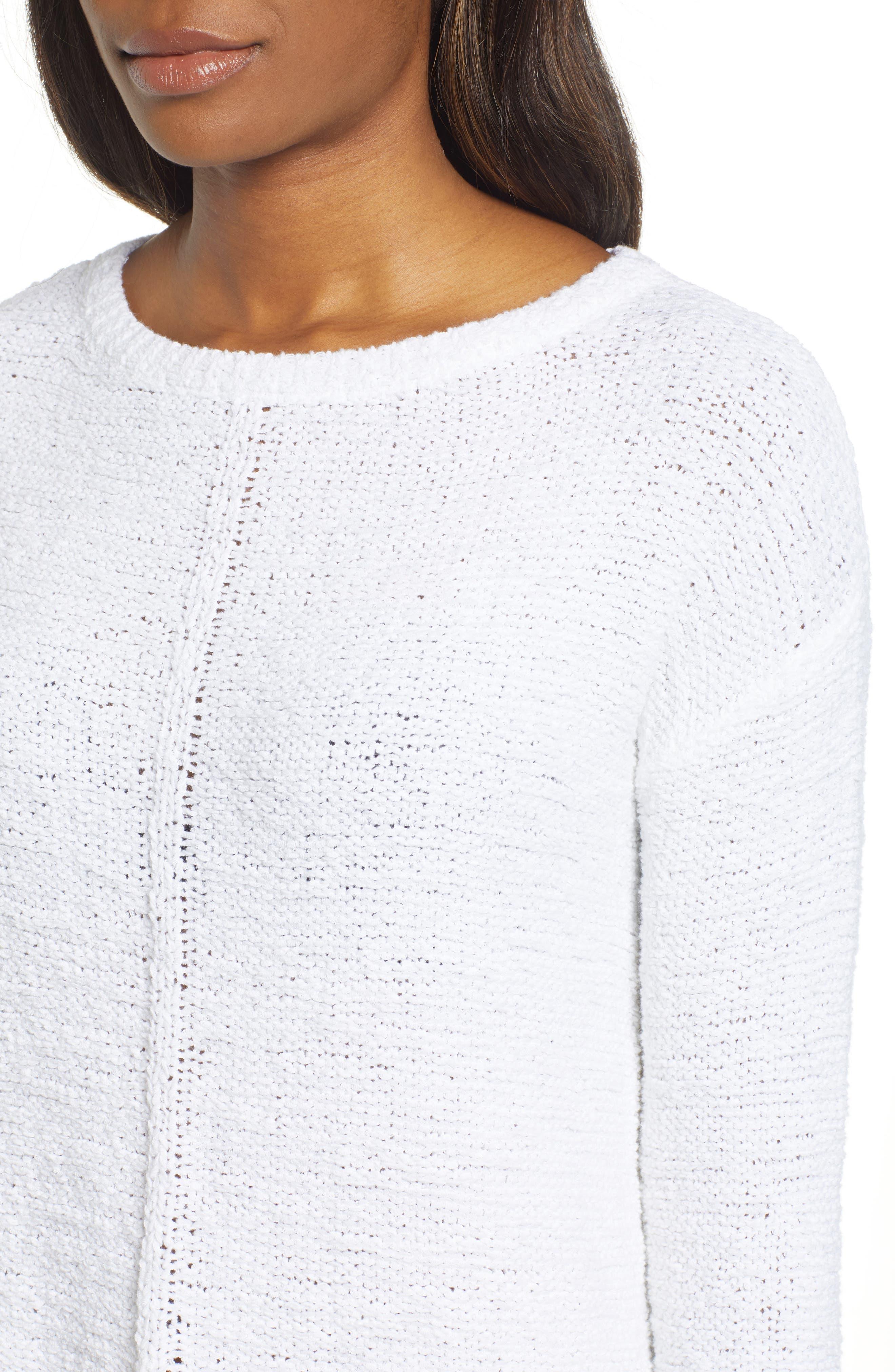 Button Back Sweater,                             Alternate thumbnail 4, color,                             WHITE