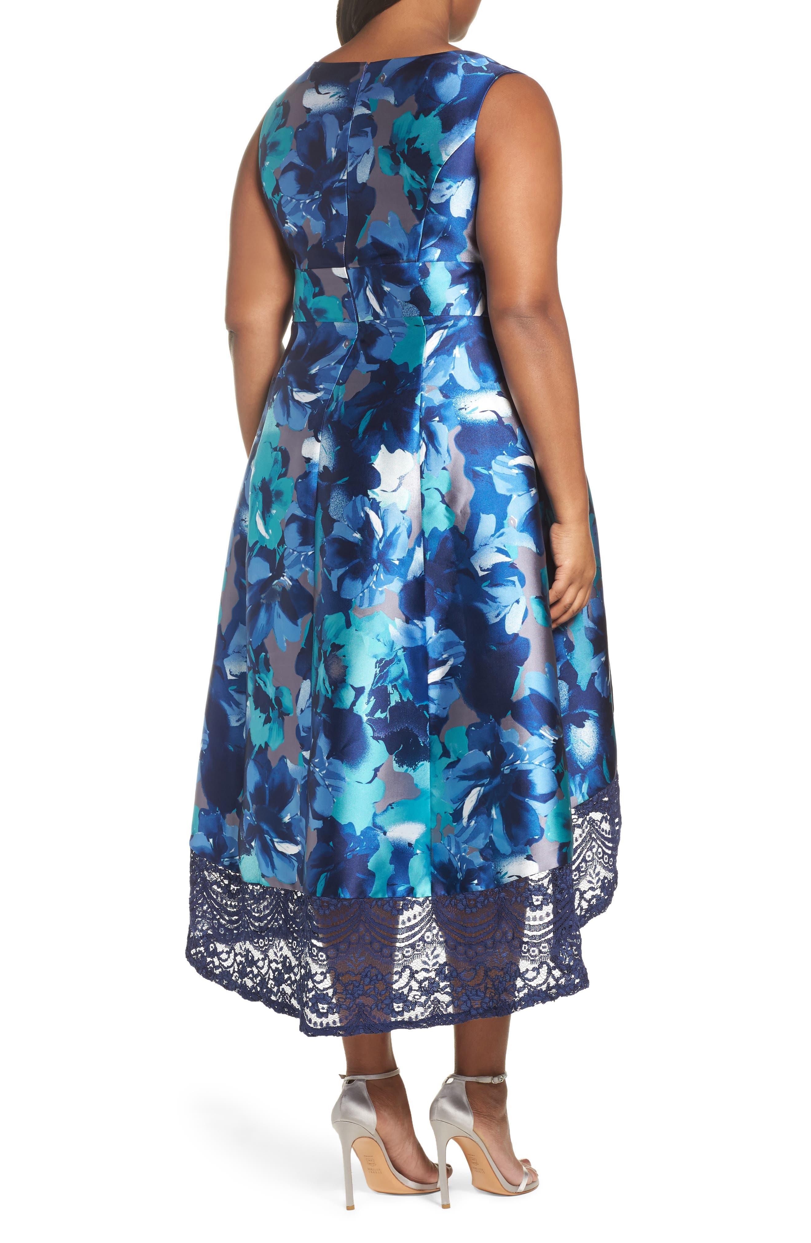 Watercolor Floral High/Low Dress,                             Alternate thumbnail 2, color,                             460