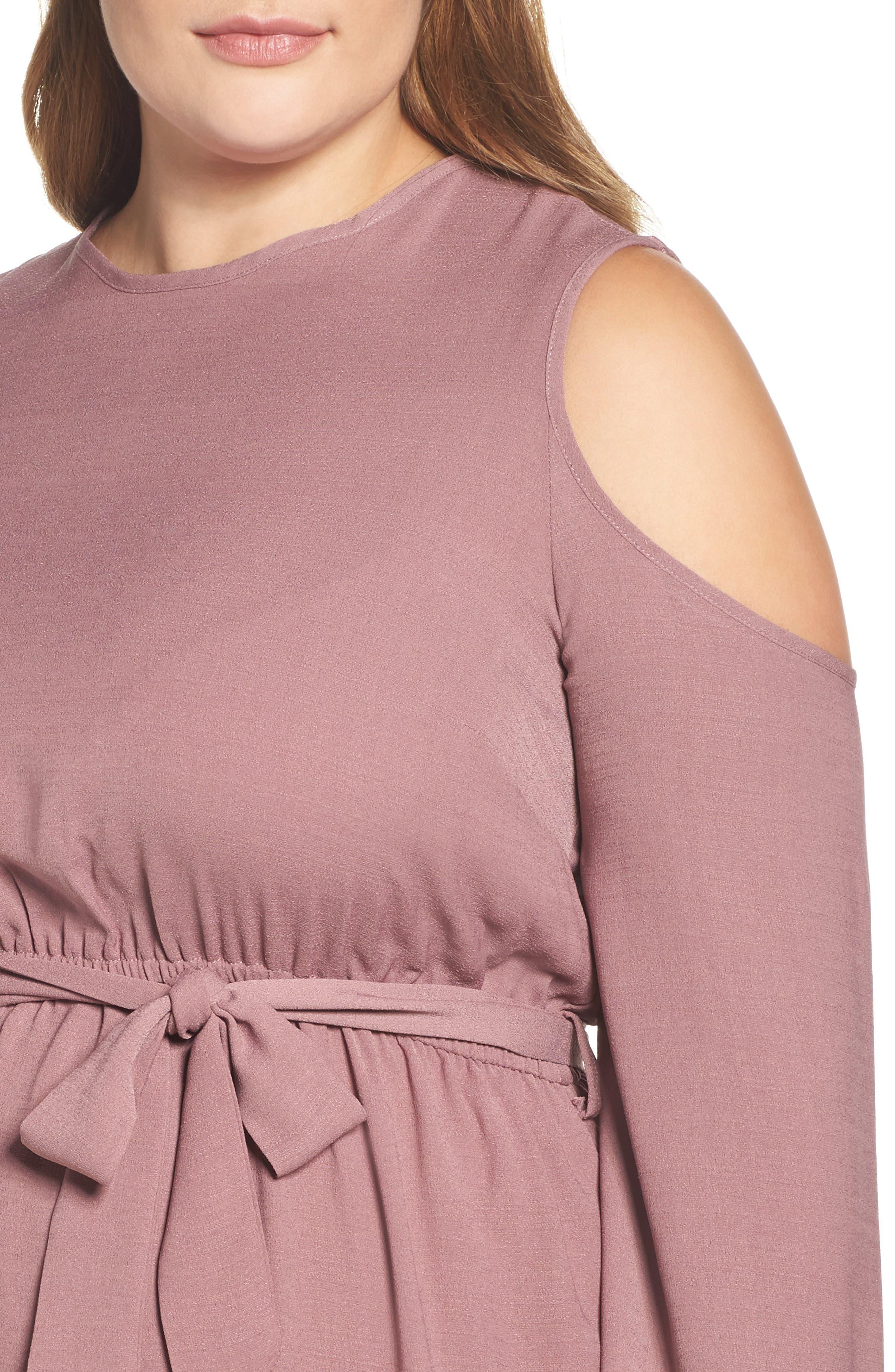 Cold Shoulder A-Line Dress,                             Alternate thumbnail 4, color,