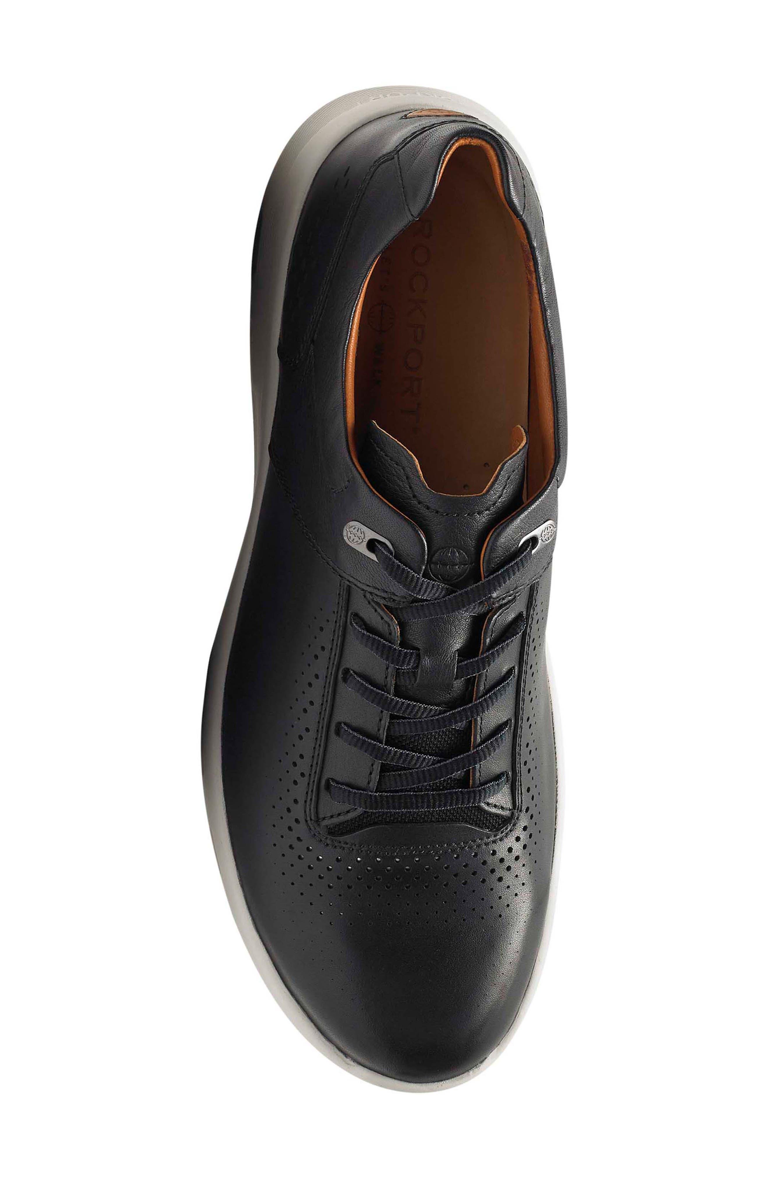 Let's Walk<sup>®</sup> Sneaker,                             Alternate thumbnail 5, color,                             BLACK LEATHER